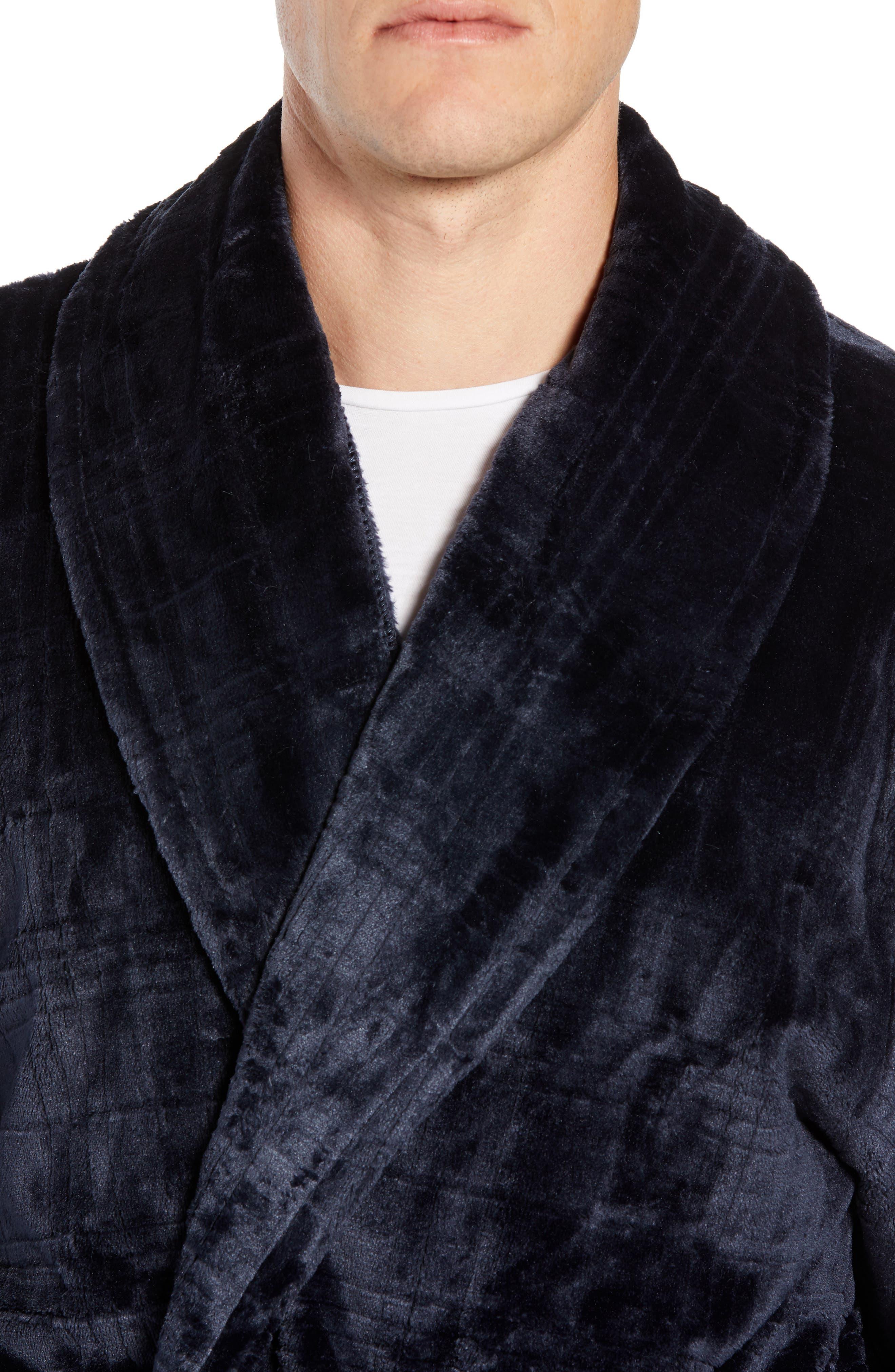 Plaid Plush Jacquard Robe,                             Alternate thumbnail 4, color,                             MIDNIGHT