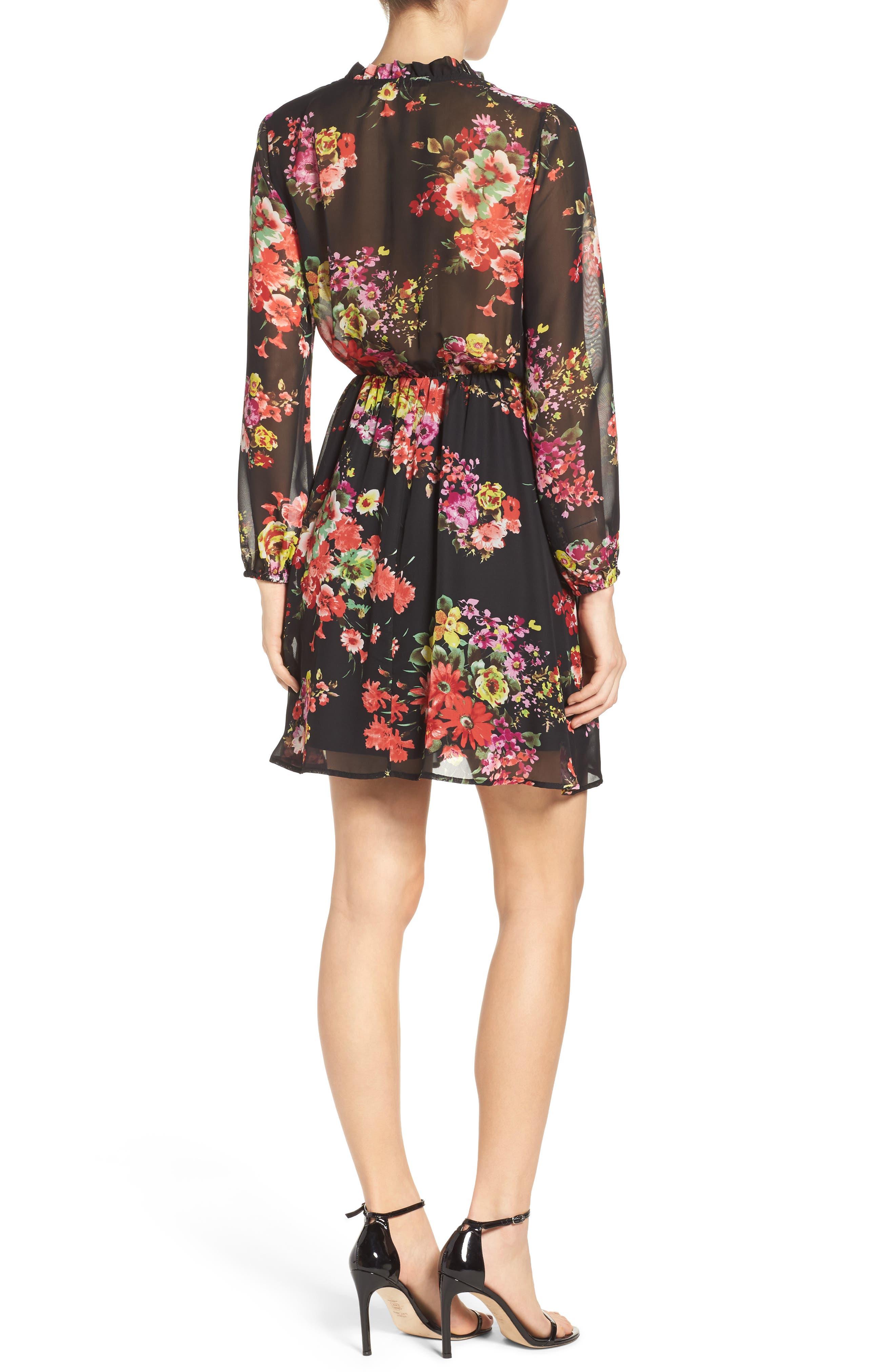 Floral Chiffon A-Line Dress,                             Alternate thumbnail 2, color,                             001