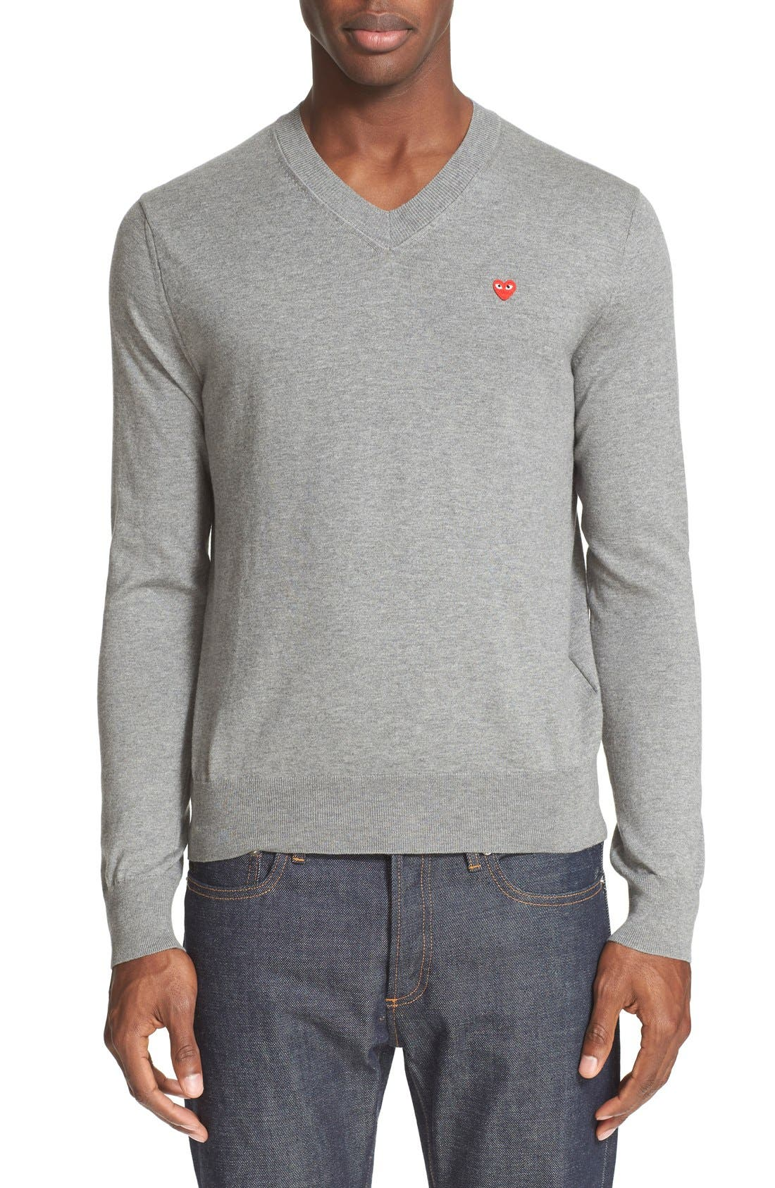 V-Neck Cotton Pullover,                             Main thumbnail 1, color,                             020