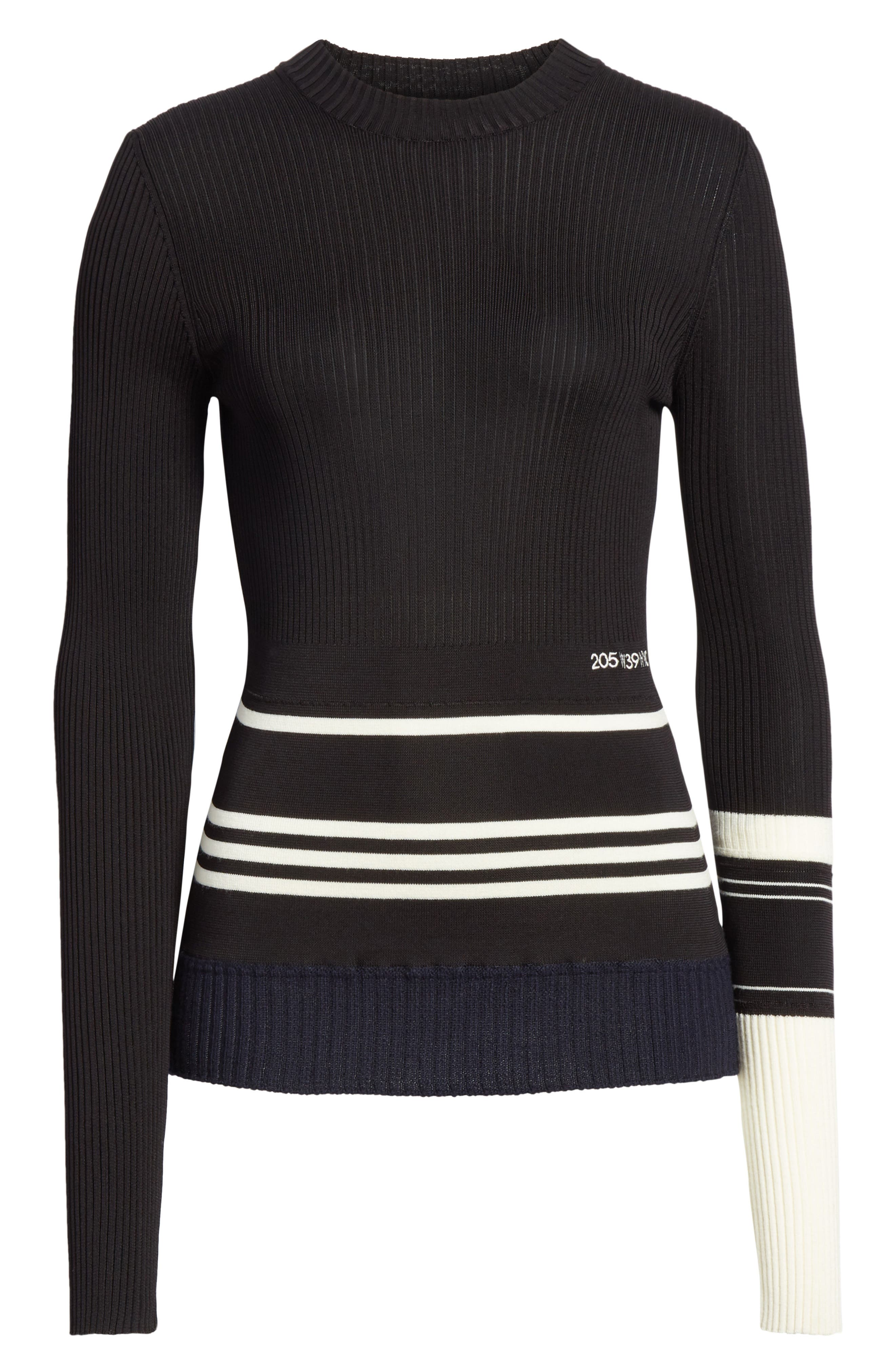 Varsity Stripe Colorblock Sweater,                             Alternate thumbnail 7, color,                             BLACK IVORY NAVY