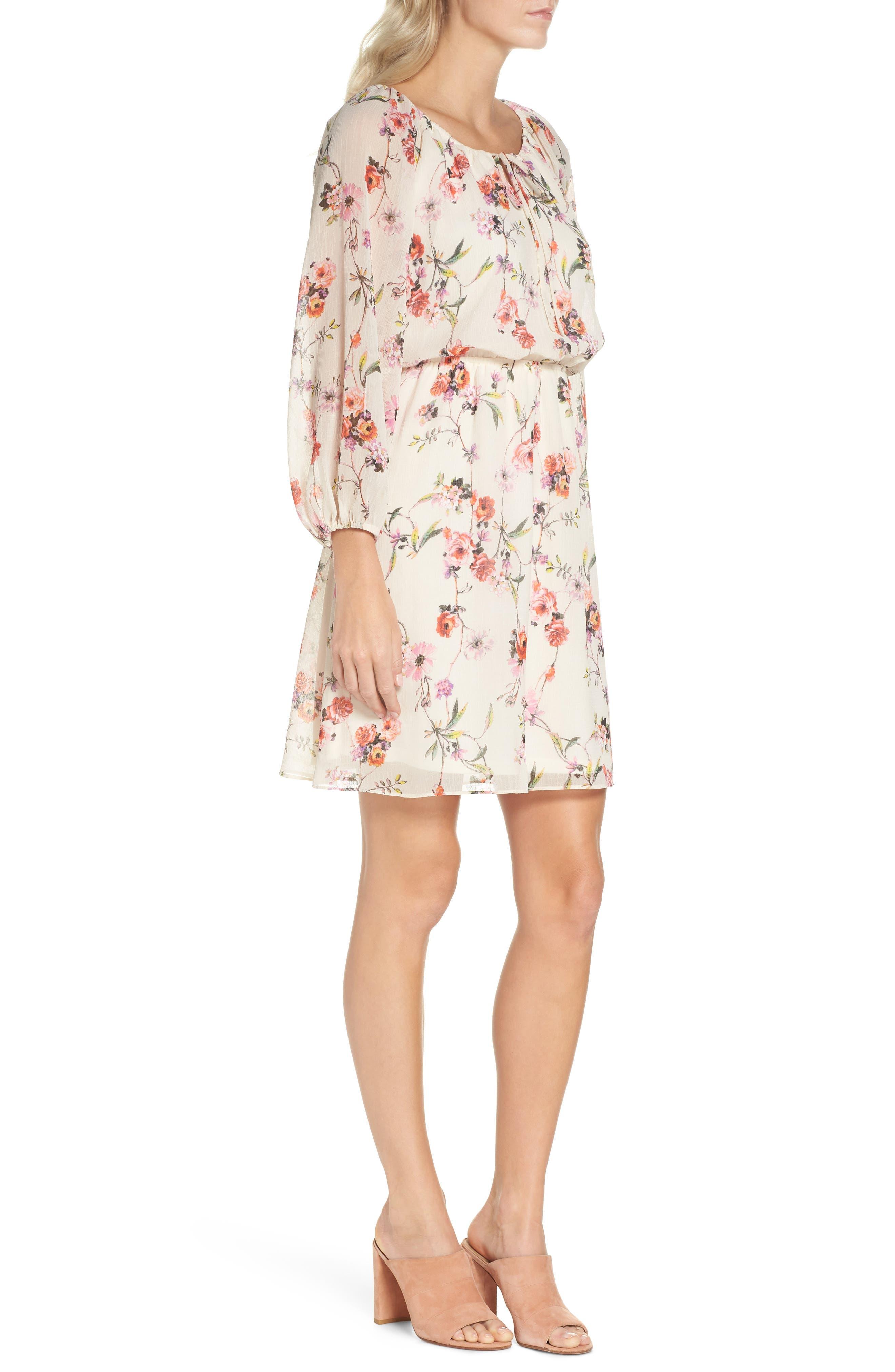 Bonita Oasis Floral Dress,                             Alternate thumbnail 3, color,                             IVORY MULTI