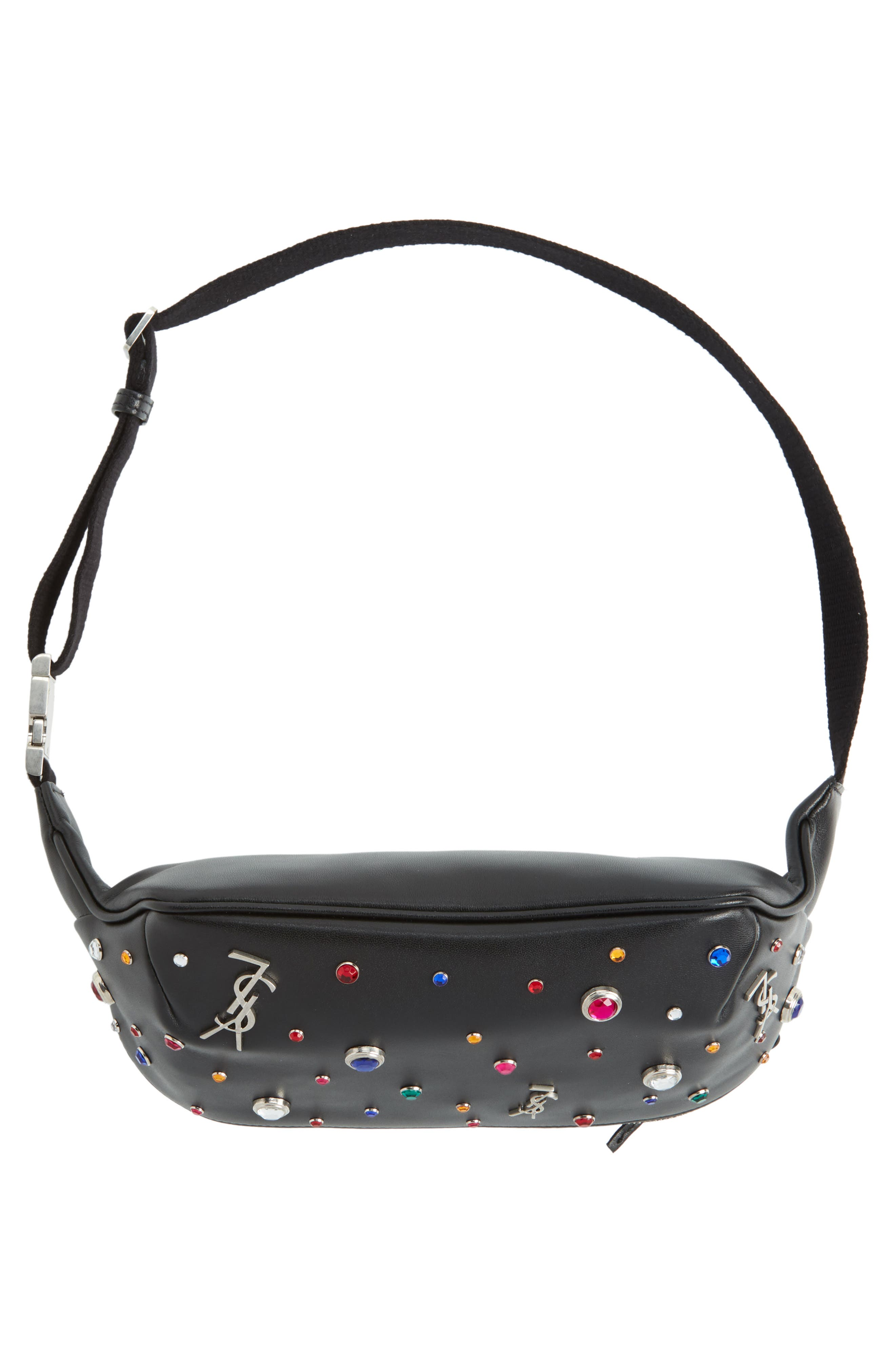 Monogram Studded Leather Belt Bag,                             Alternate thumbnail 7, color,                             NOIR MULTI