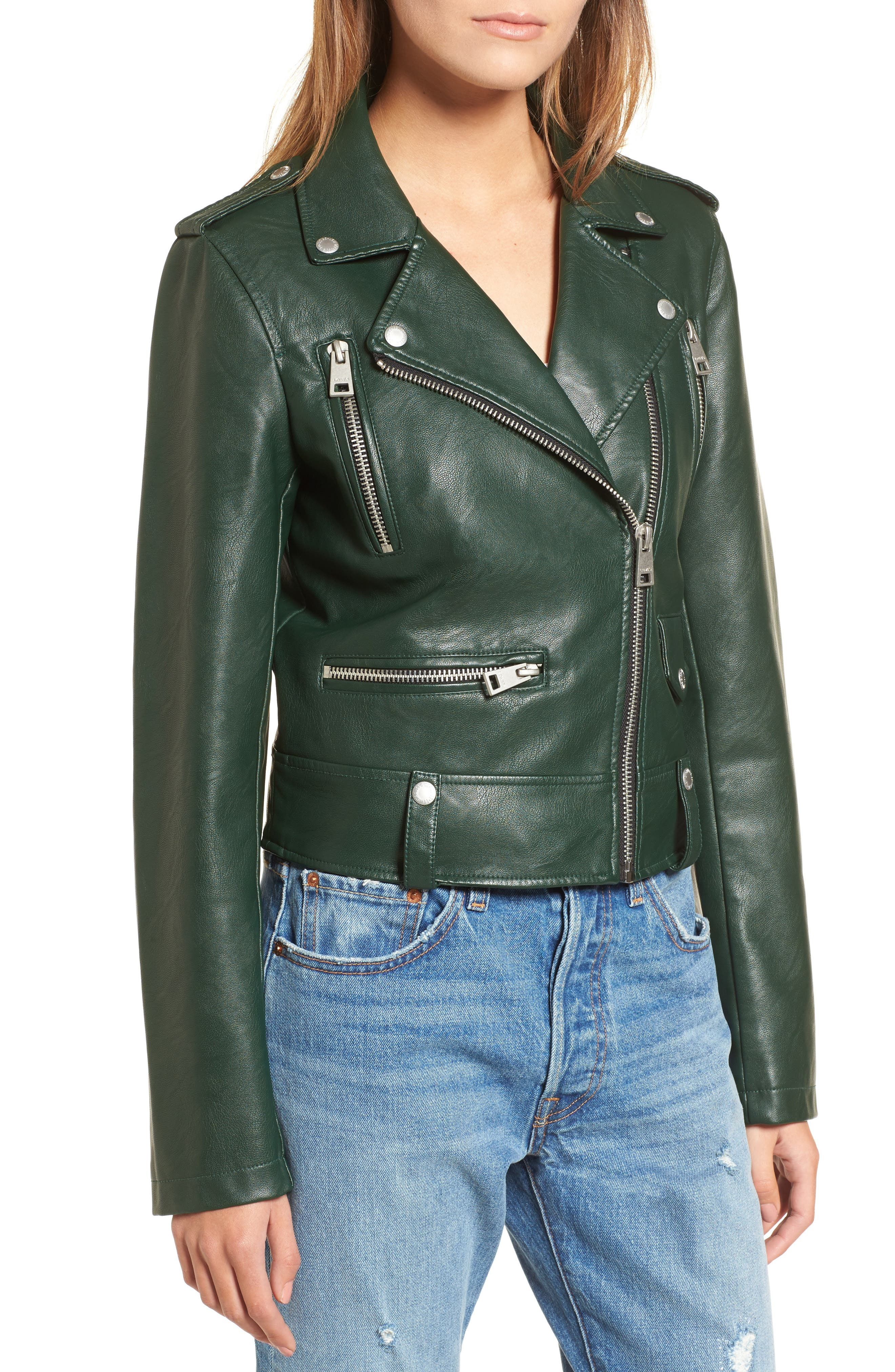 Faux Leather Moto Jacket,                             Alternate thumbnail 4, color,                             HUNTER GREEN