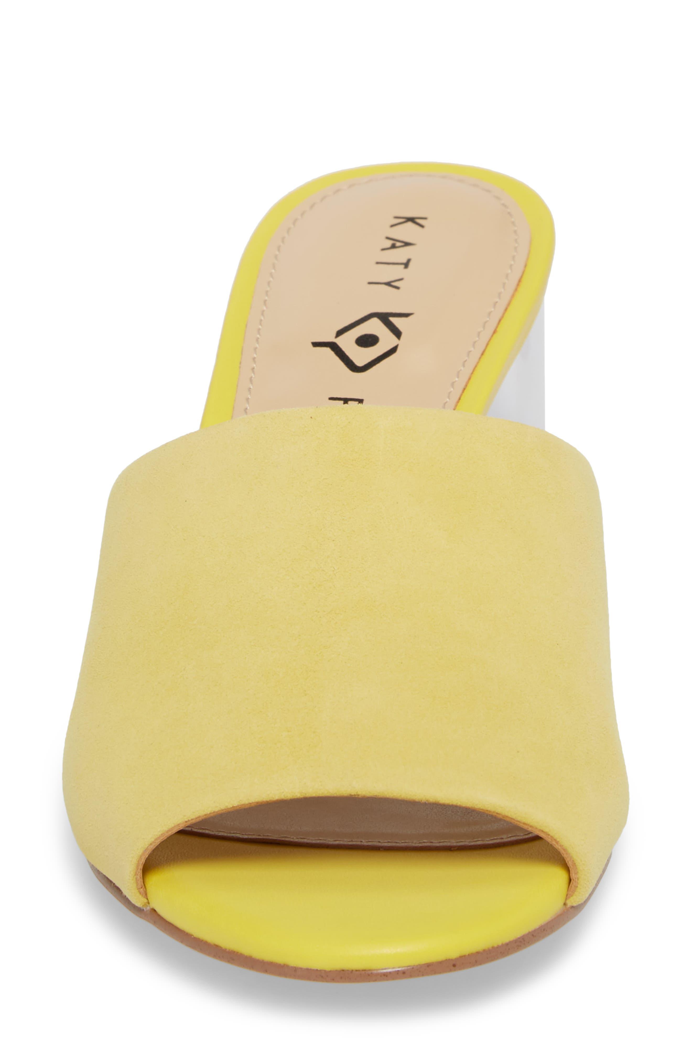 The Kaitlynn Slide Sandal,                             Alternate thumbnail 4, color,                             YELLOW SUEDE