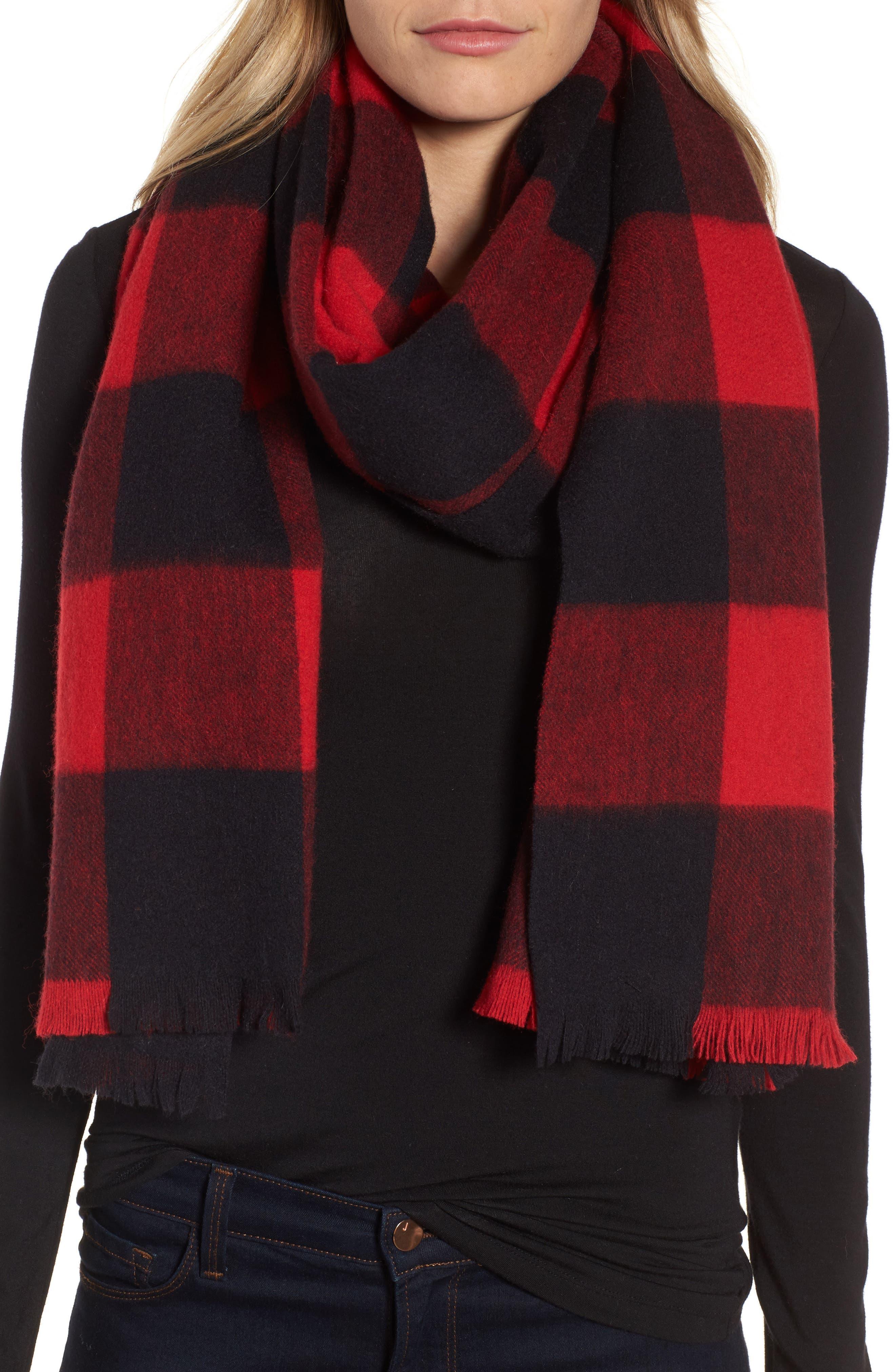 mega check wool scarf,                             Main thumbnail 2, color,