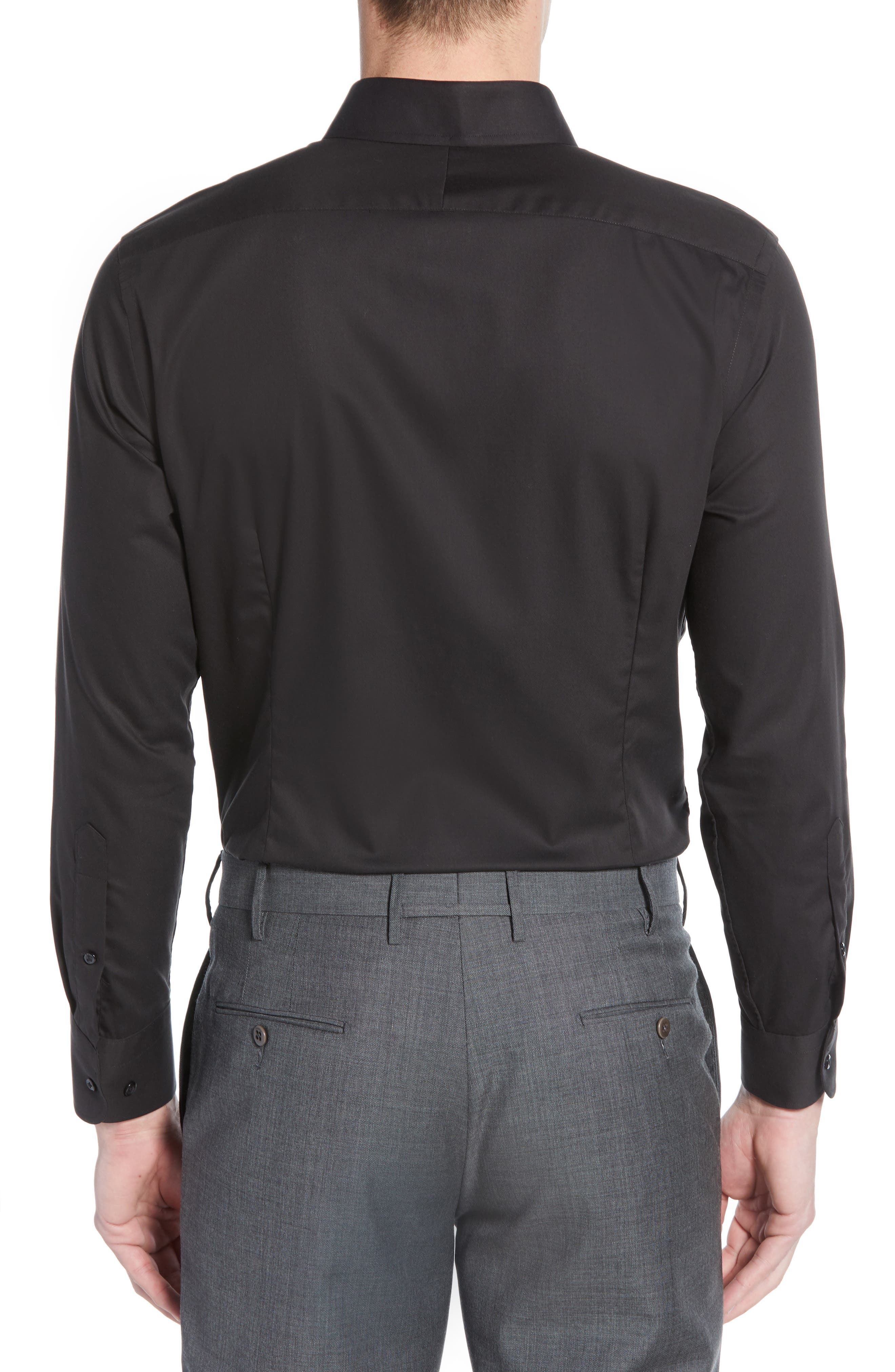 NORDSTROM MEN'S SHOP,                             Extra Trim Fit Non-Iron Solid Dress Shirt,                             Alternate thumbnail 3, color,                             BLACK ROCK