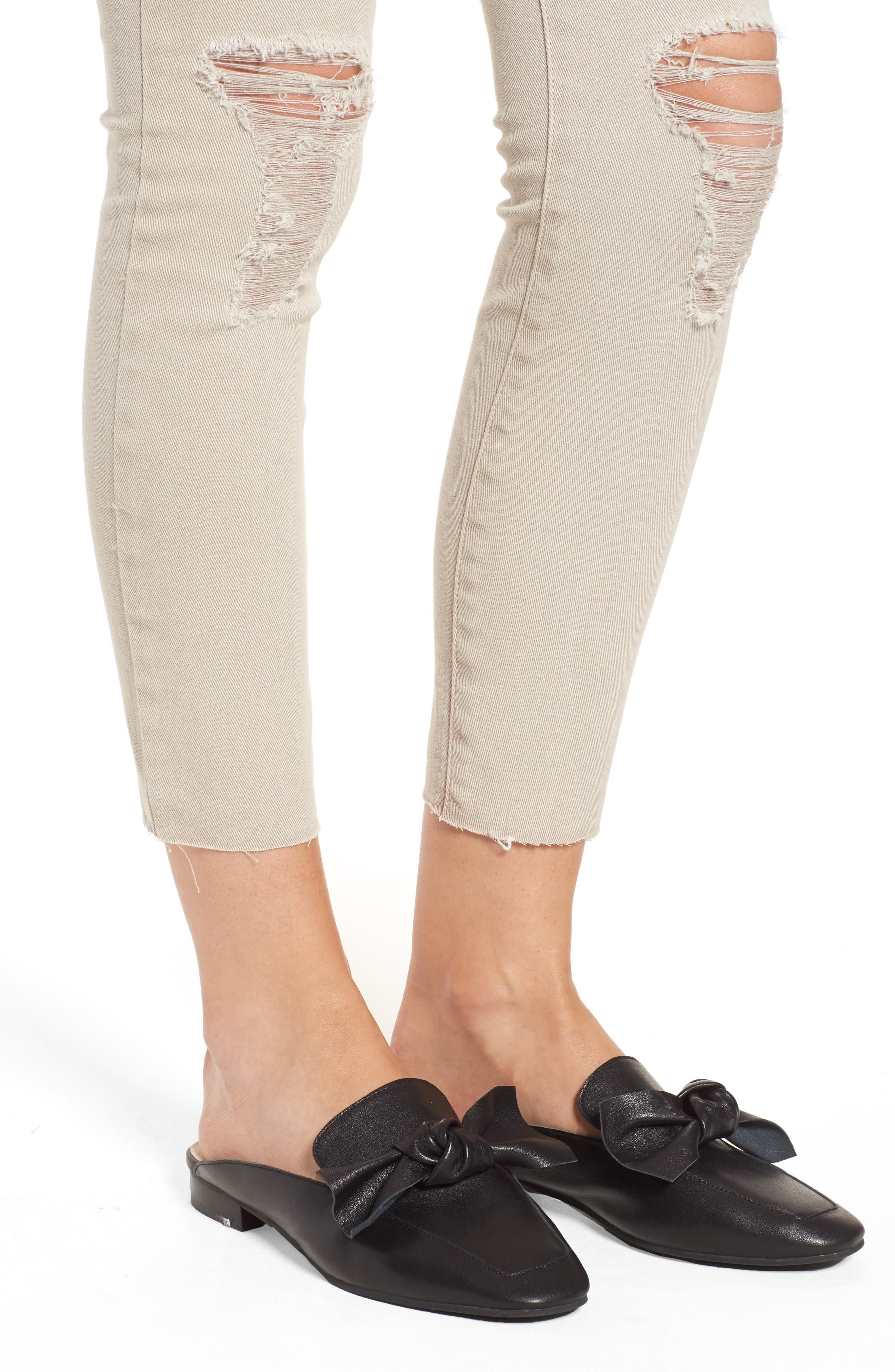 Emma Distressed Raw Hem Skinny Jeans,                             Alternate thumbnail 4, color,