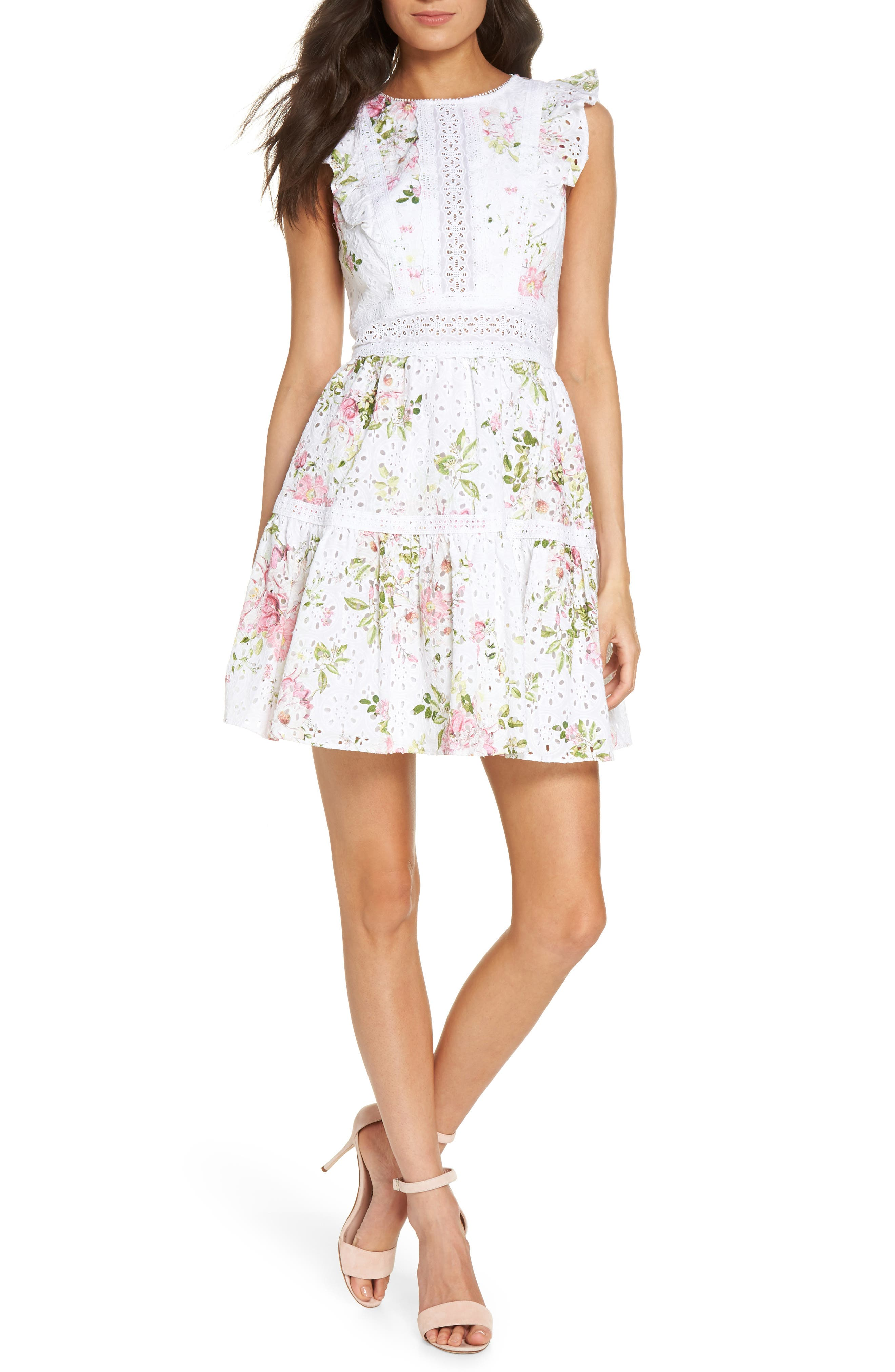 Print Broderie Anglaise Fit & Flare Dress,                         Main,                         color, 100