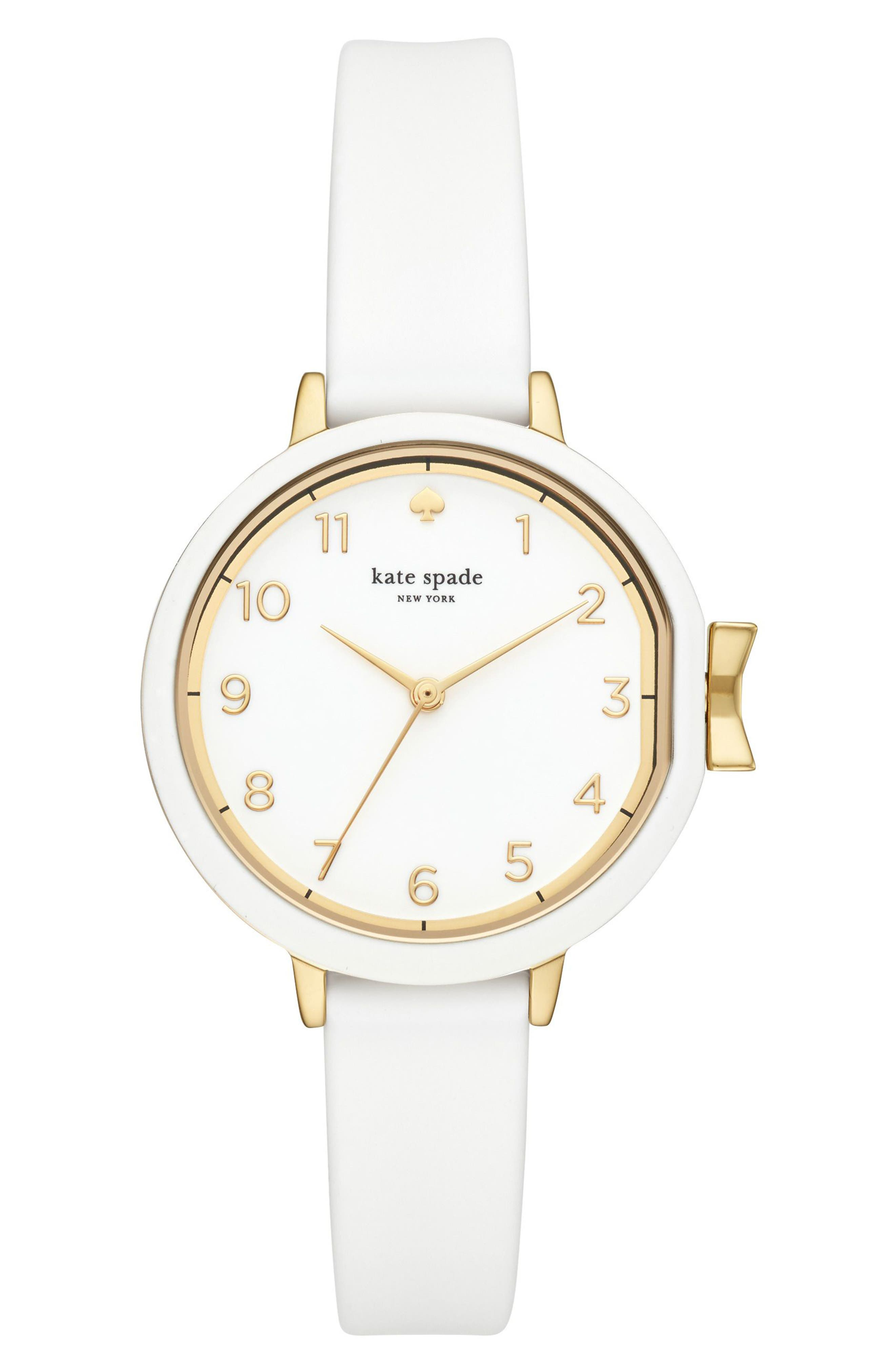 park row silicone strap watch, 34mm,                             Main thumbnail 1, color,                             WHITE/ GOLD