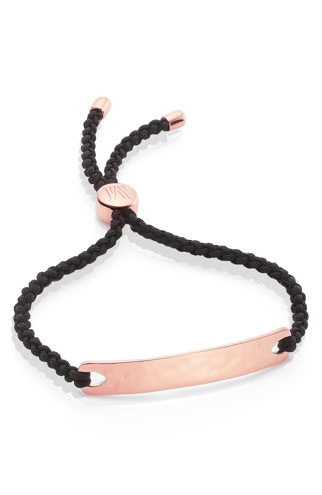 Engravable HavanaFriendship Bracelet,                             Main thumbnail 1, color,                             ROSE GOLD/ BLACK