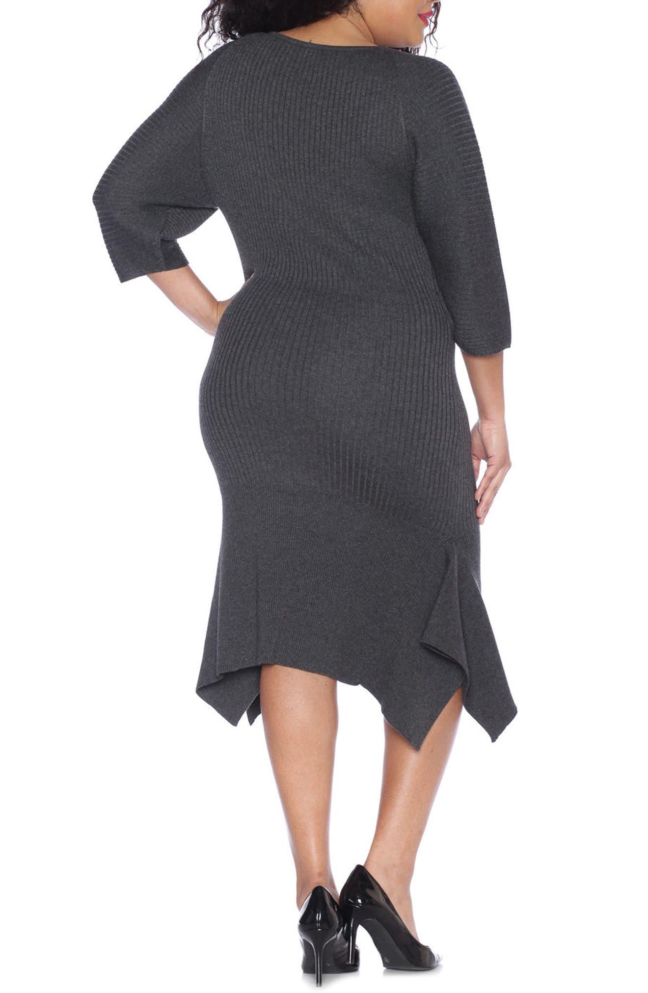 Handkerchief Hem Sweater Dress,                             Alternate thumbnail 2, color,                             DARK STONE