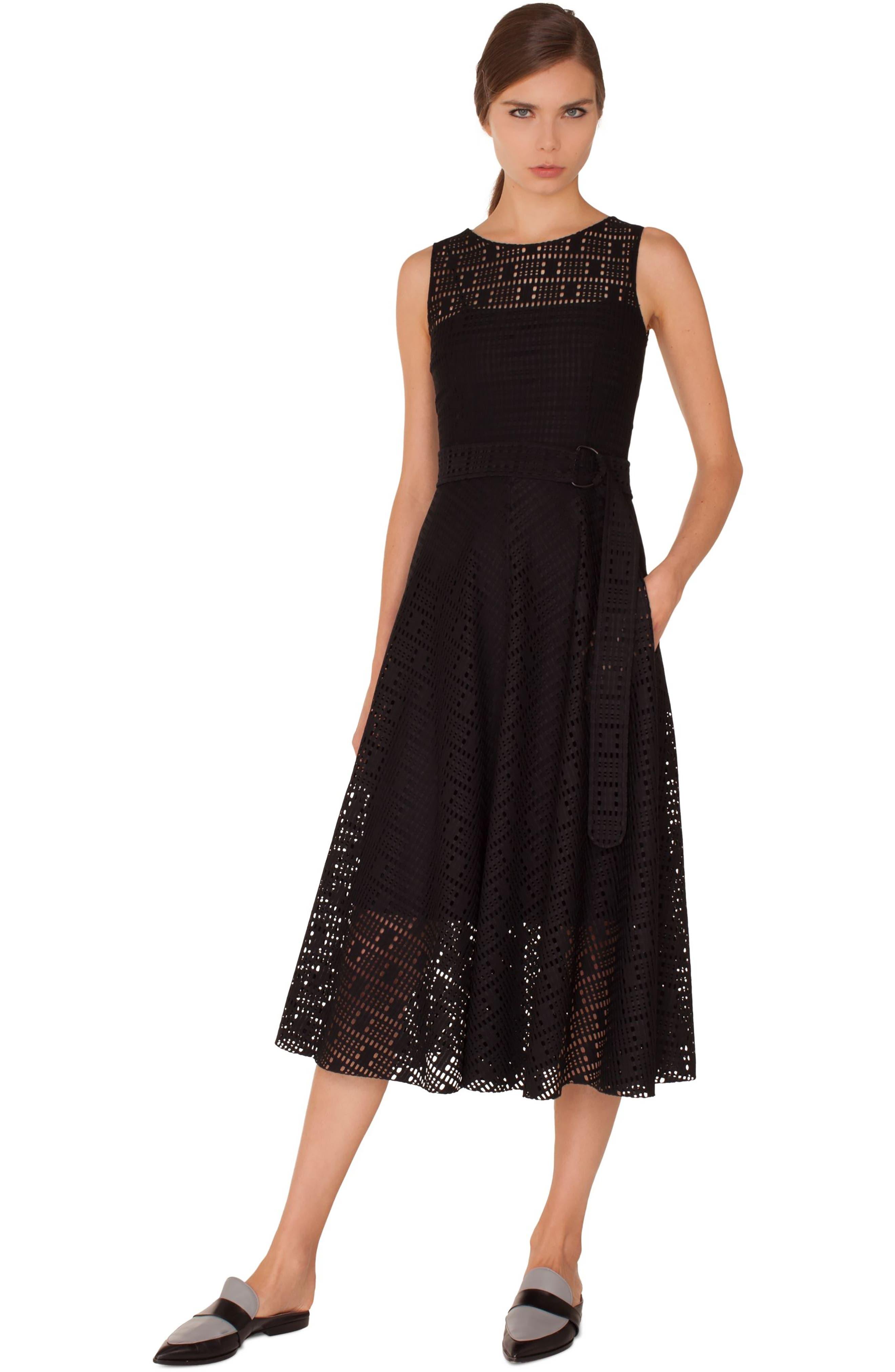 Lace Fit & Flare Dress,                             Alternate thumbnail 3, color,                             009