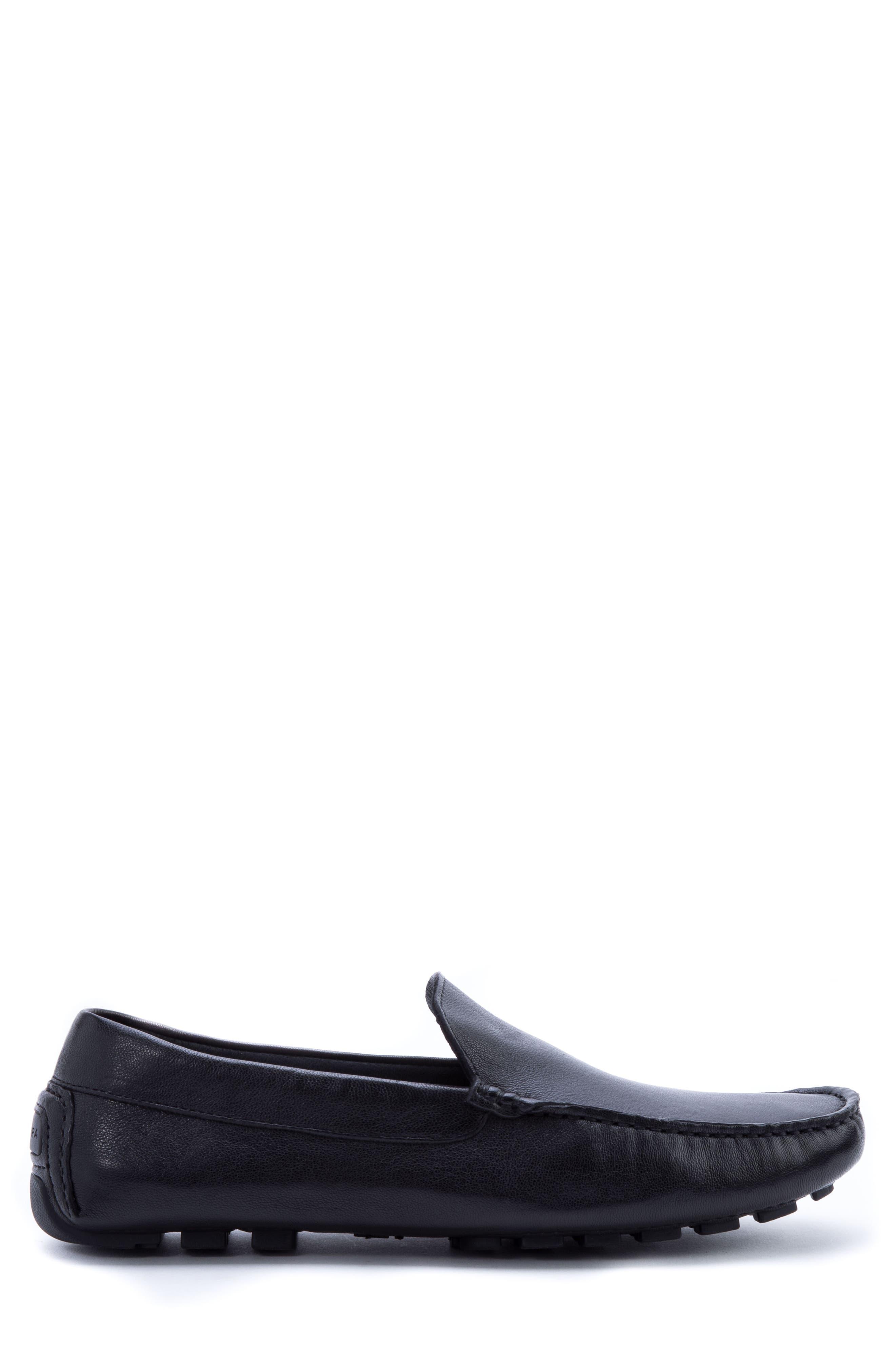 ZANZARA,                             Picasso 3 Moc Toe Driving Loafer,                             Alternate thumbnail 3, color,                             BLACK LEATHER