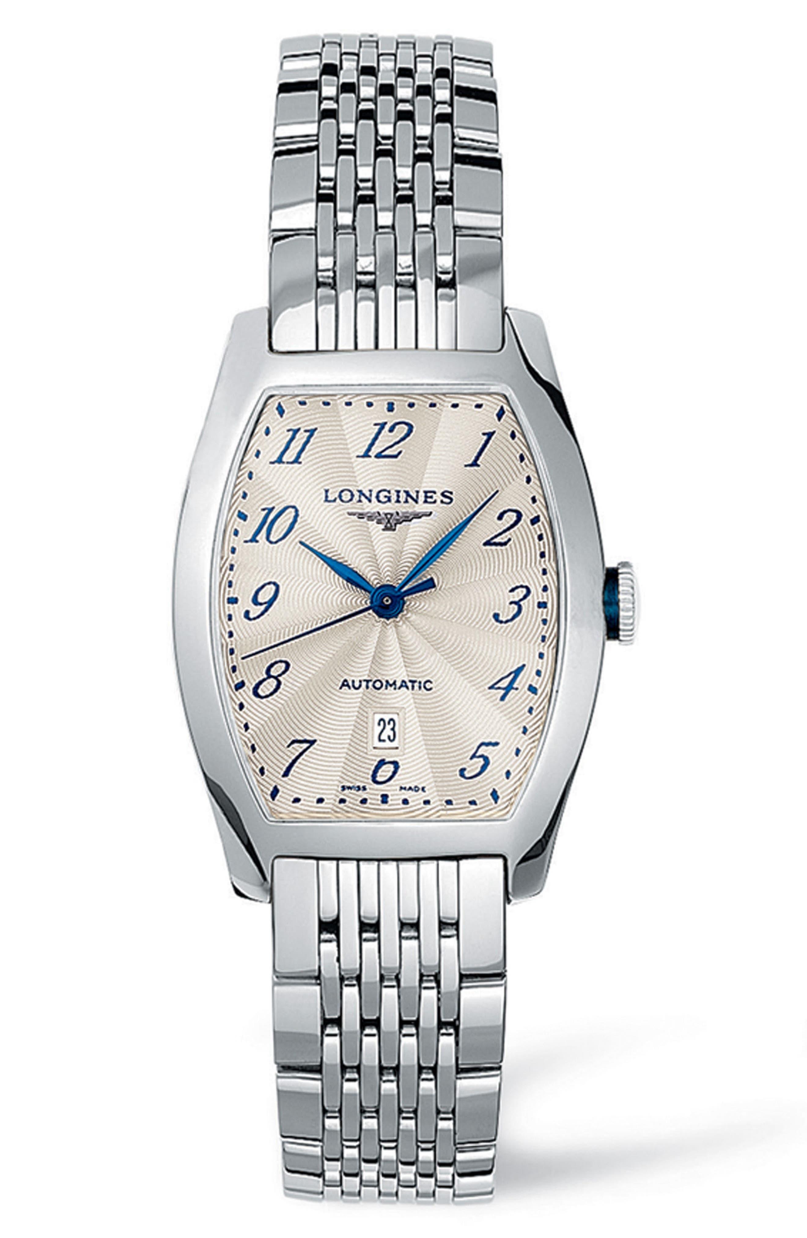 Evidenza Automatic Bracelet Watch, 26mm x 30.6mm,                             Main thumbnail 1, color,                             SILVER