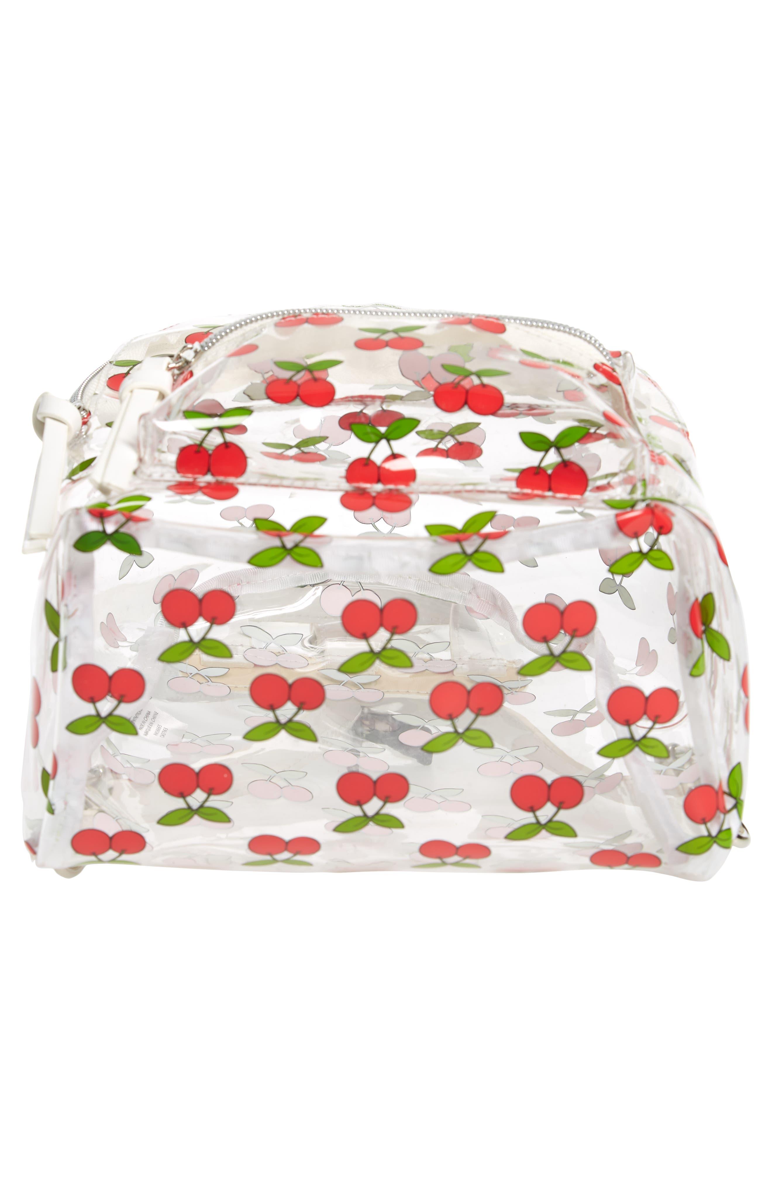 Transparent Cherry Print Mini Convertible Backpack,                             Alternate thumbnail 6, color,                             600