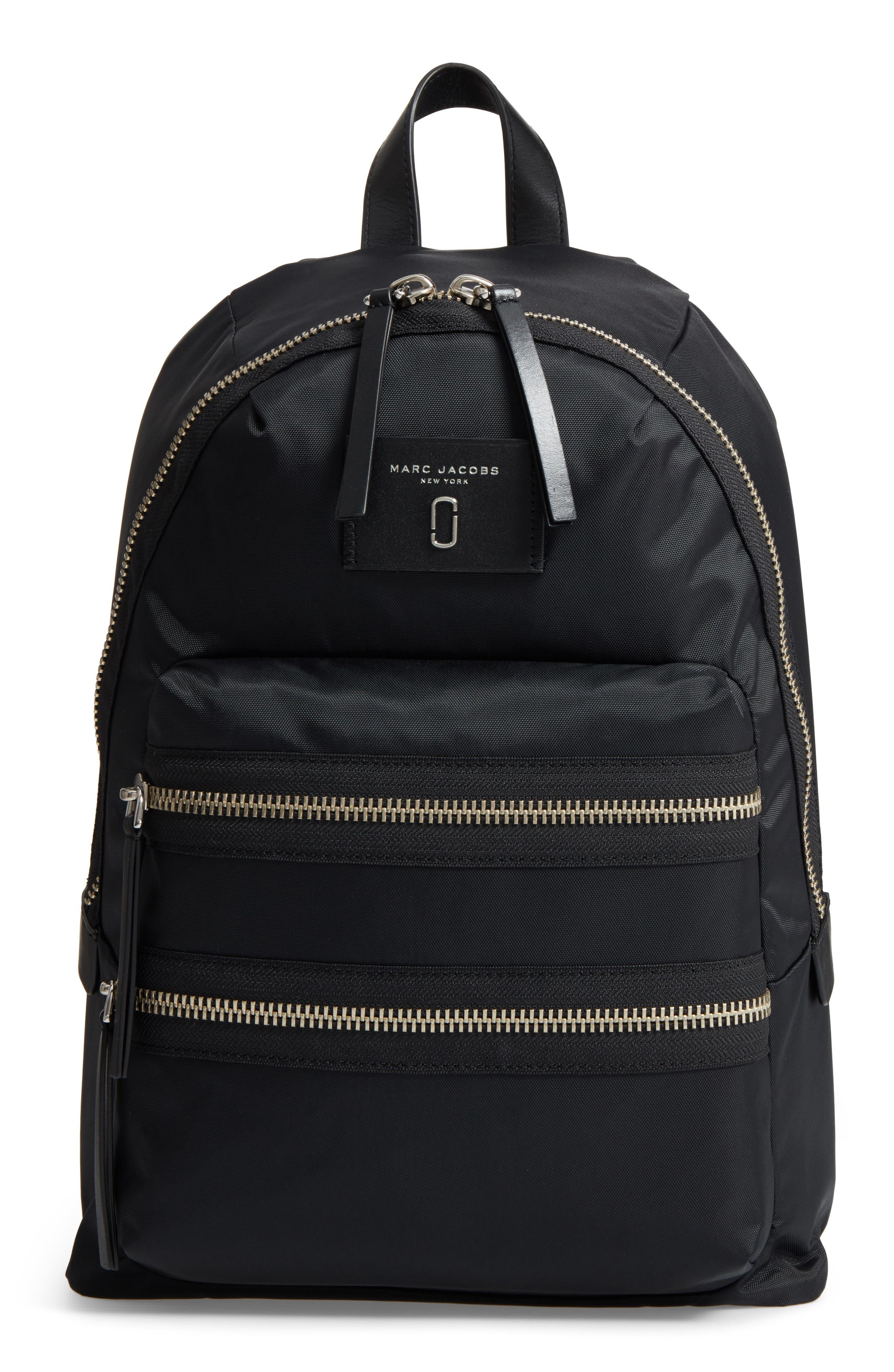 Biker Nylon Backpack,                         Main,                         color, BLACK