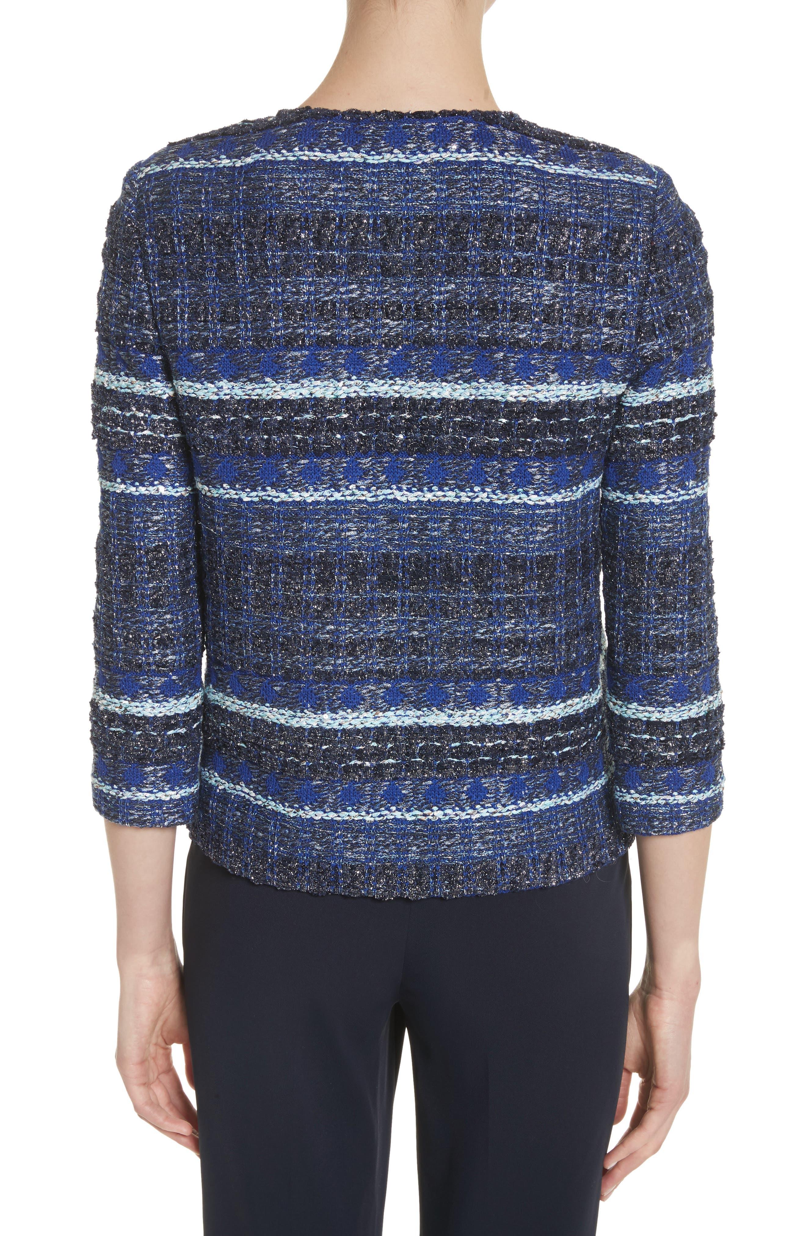 Stripe Tweed Jacket,                             Alternate thumbnail 2, color,                             NAVY MULTI
