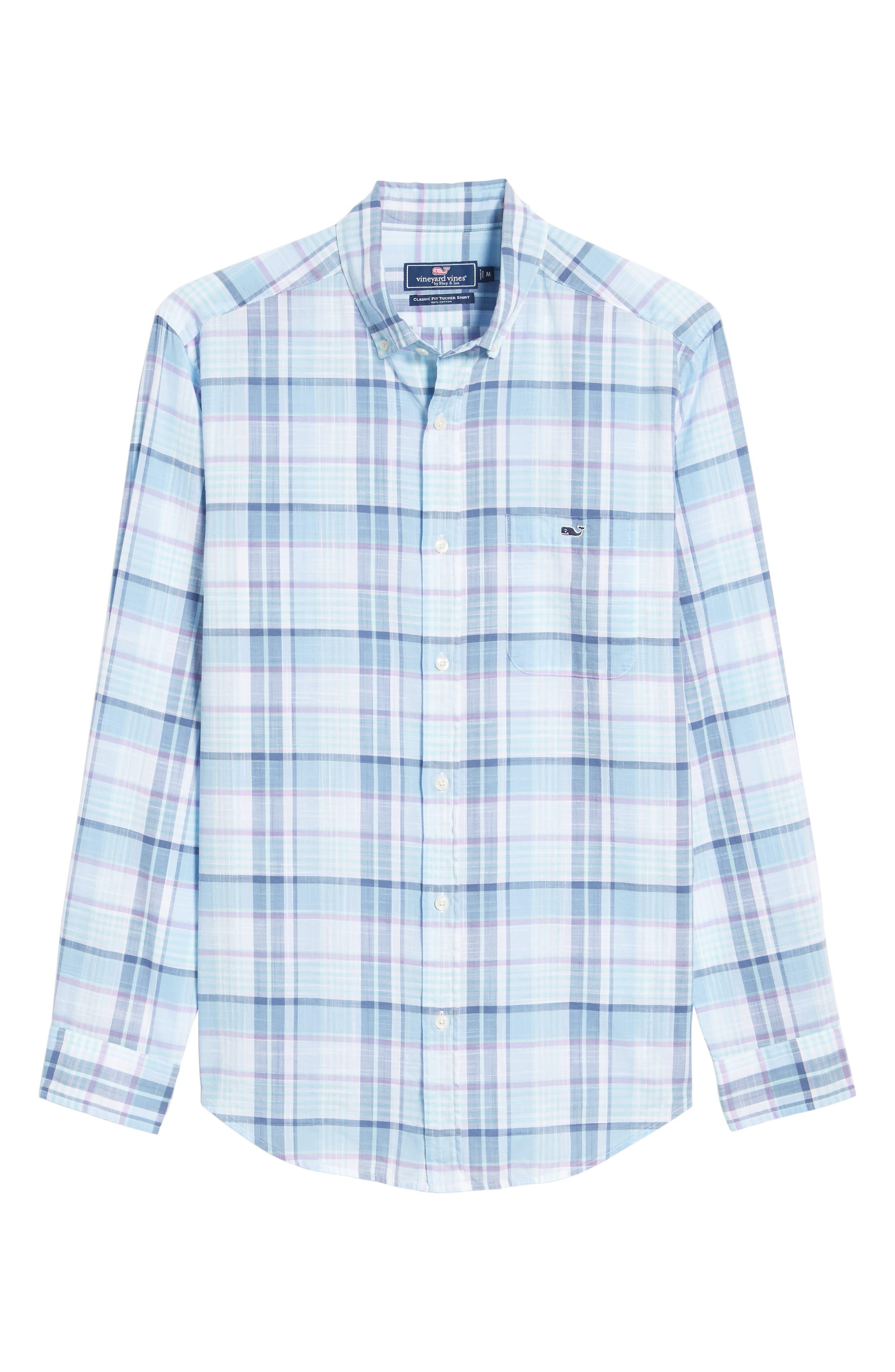 Pleasant Bay Classic Fit Plaid Sport Shirt,                             Alternate thumbnail 6, color,                             456