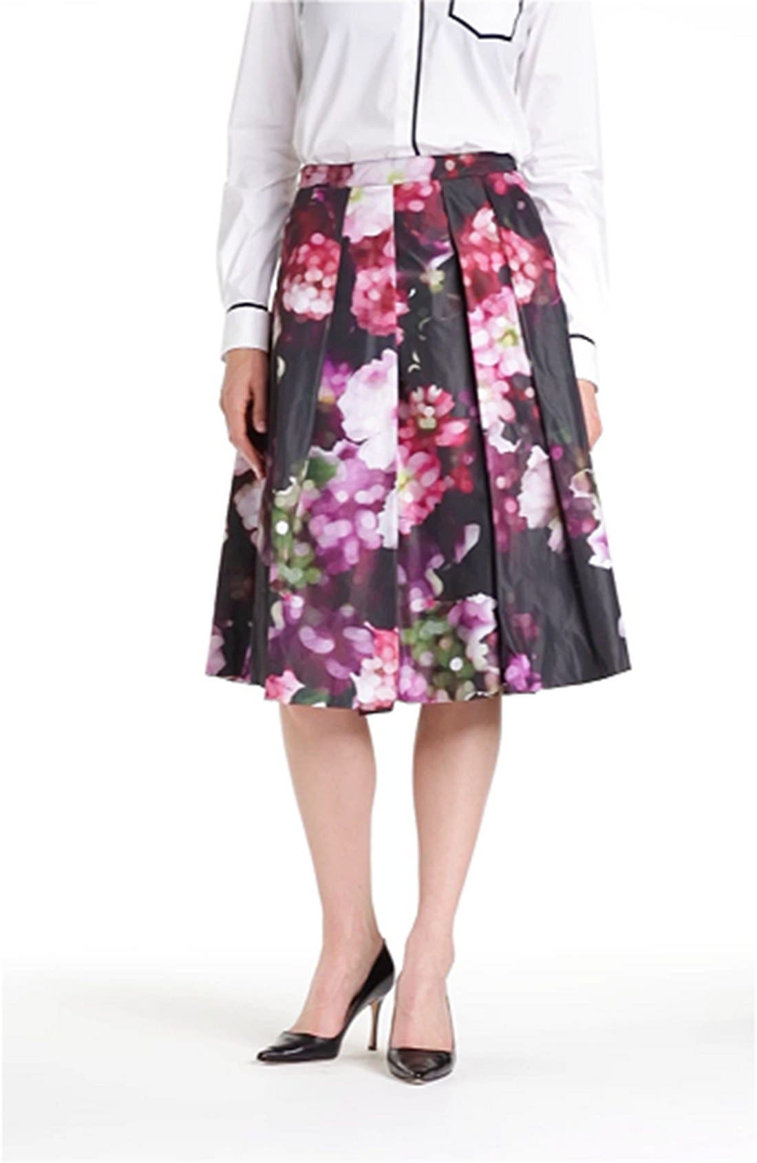 Floral Print Pleated Midi Skirt,                             Alternate thumbnail 2, color,                             540