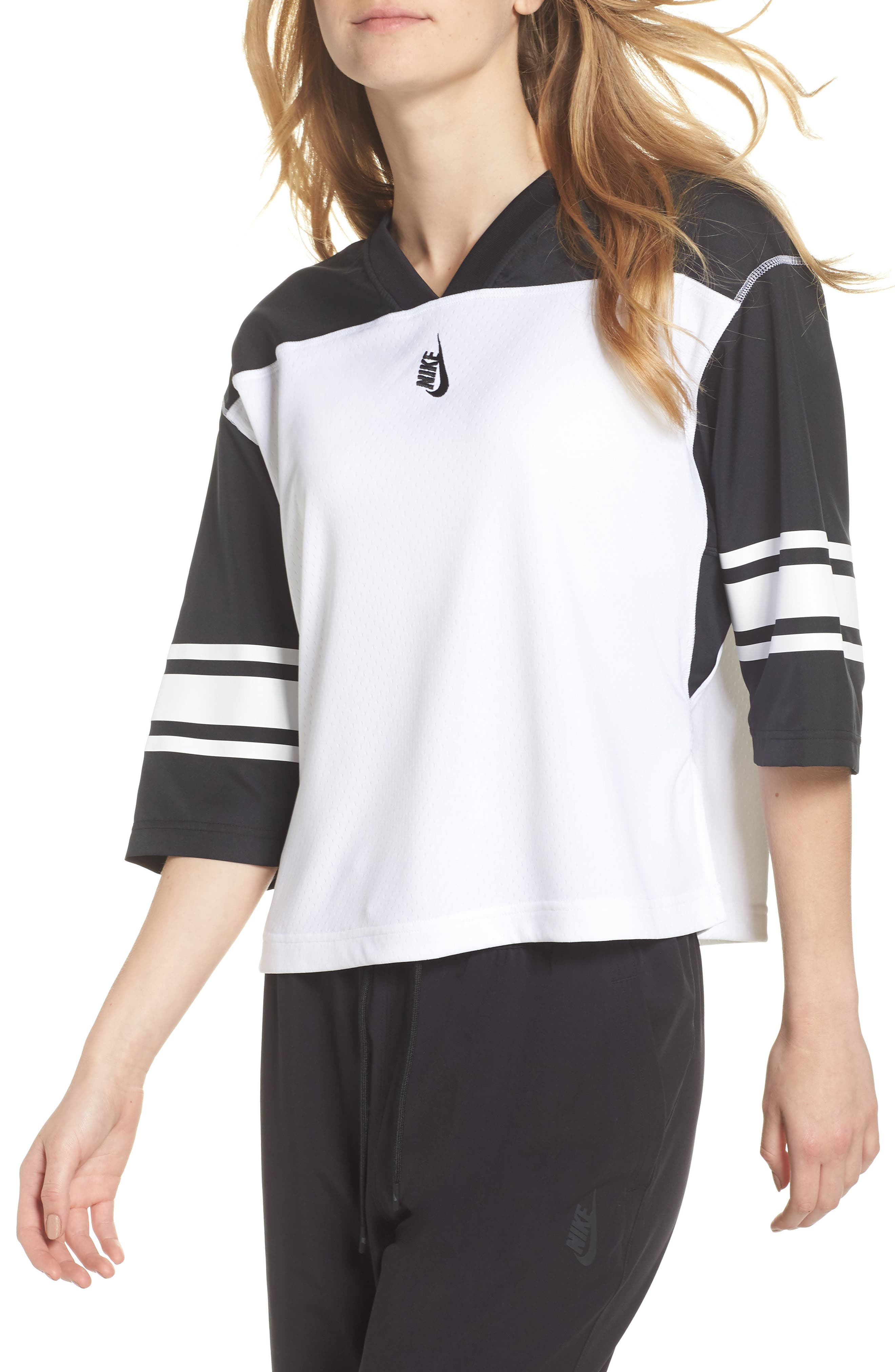 NikeLab Collection Football Top,                             Main thumbnail 1, color,                             BLACK/ WHITE/ BLACK