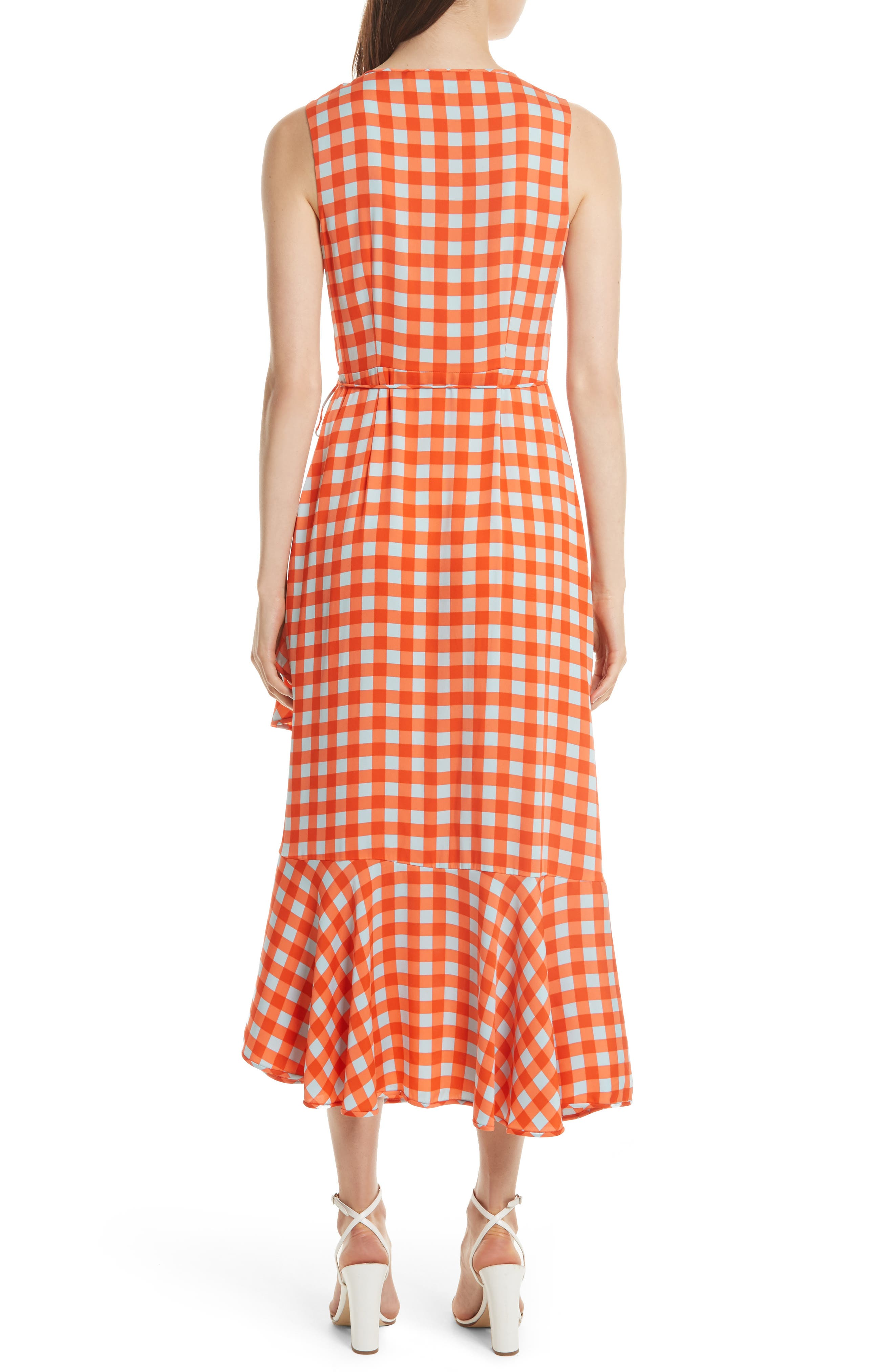 Check Ruffle Hem Wrap Dress,                             Alternate thumbnail 2, color,                             810