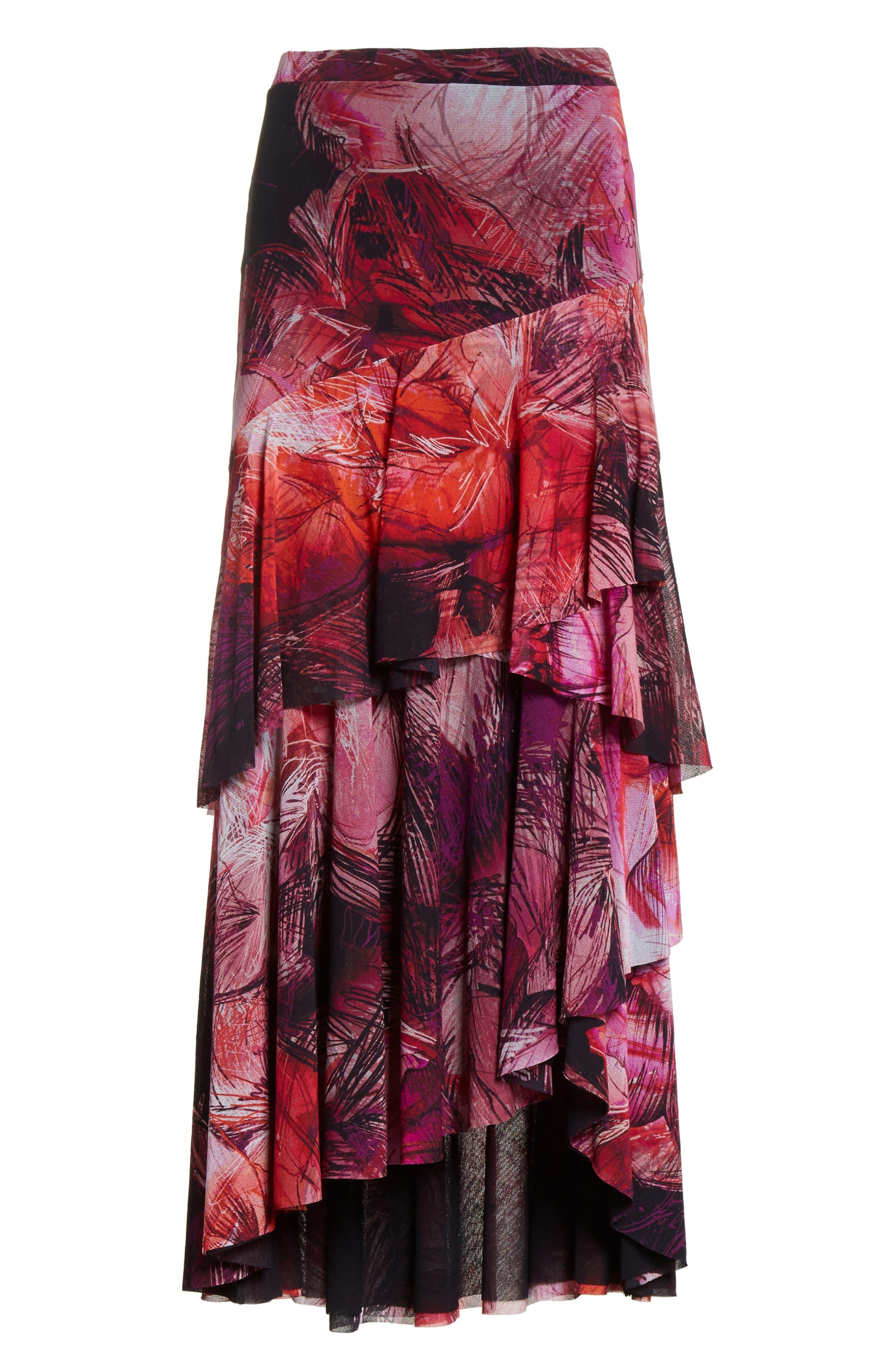 Print Tulle Ruffle Skirt,                             Alternate thumbnail 6, color,                             650