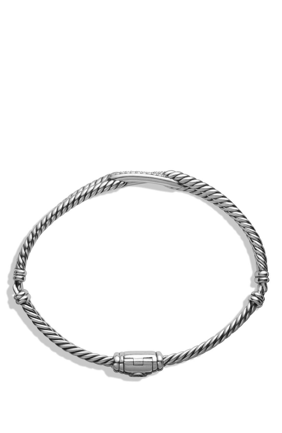 Petite Pavé 'Labyrinth' Mini Single Loop Bracelet with Diamonds in Gold,                             Alternate thumbnail 3, color,                             DIAMOND/ SILVER
