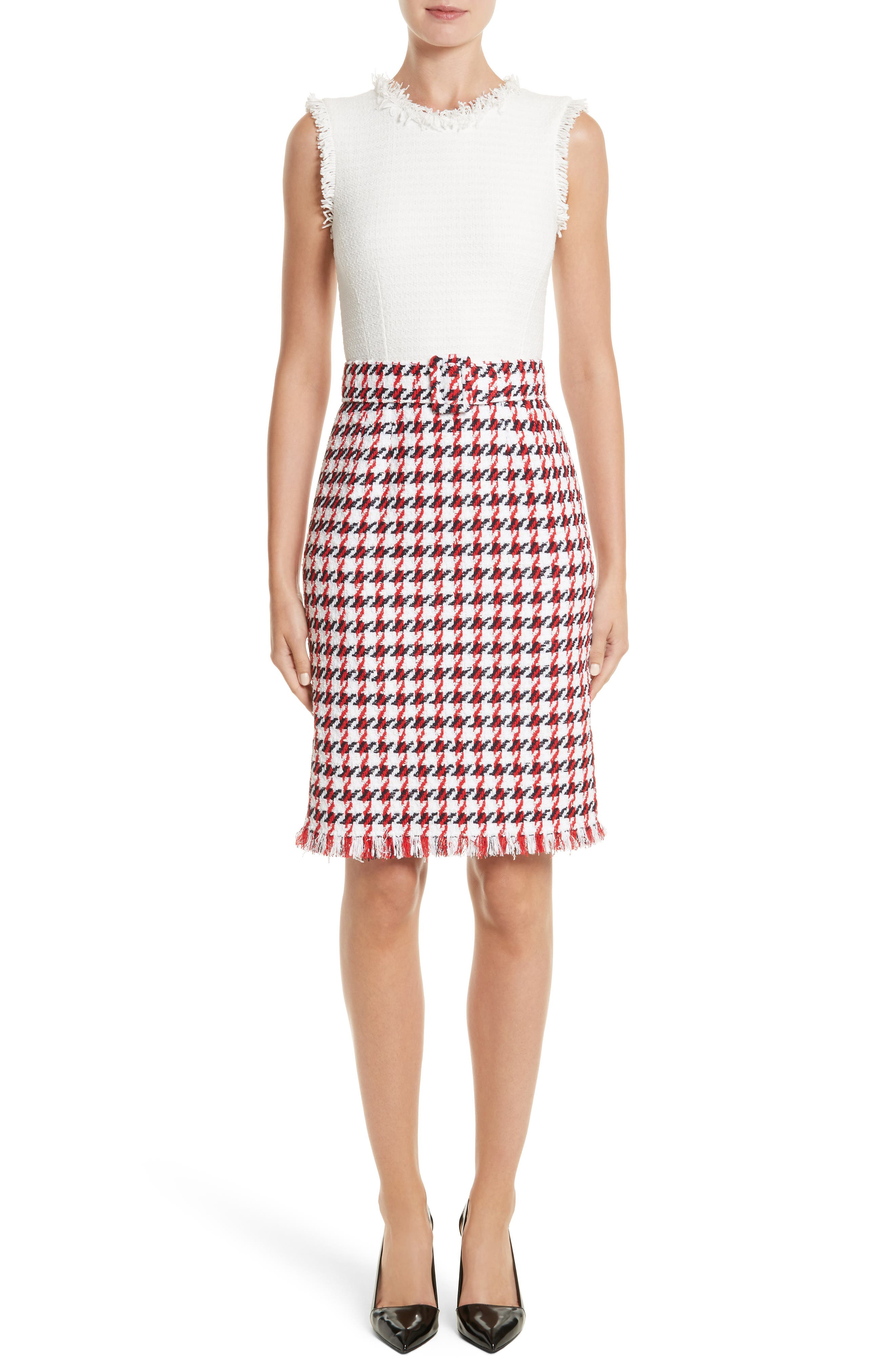 Bicolor Houndstooth Tweed Dress,                             Main thumbnail 1, color,