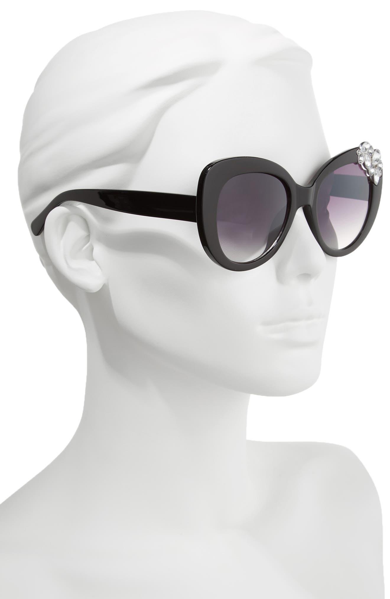 Crystal Cat Eye Sunglasses,                             Alternate thumbnail 2, color,                             002