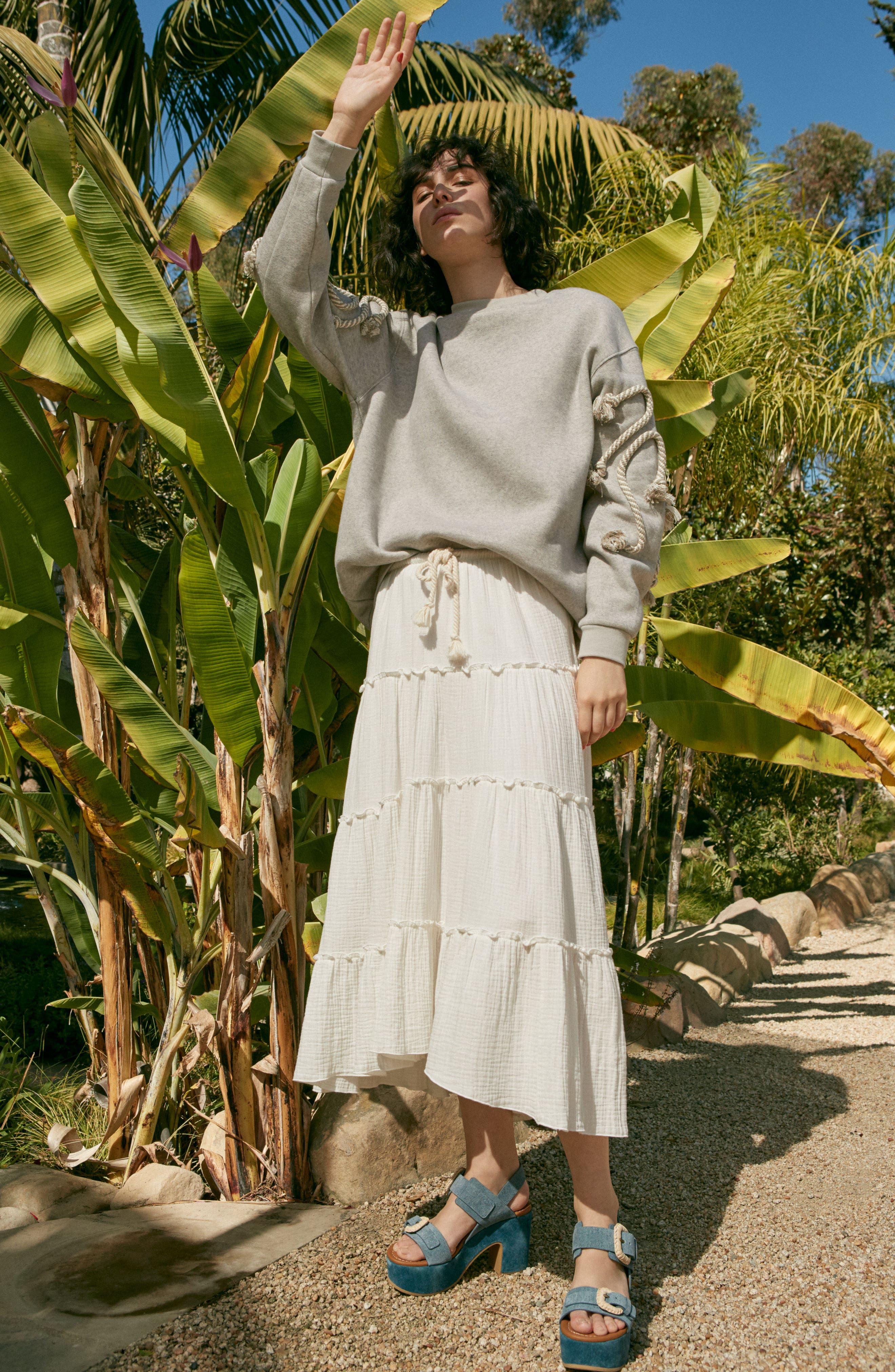 Crinkled Cotton Midi Skirt,                             Alternate thumbnail 9, color,                             101