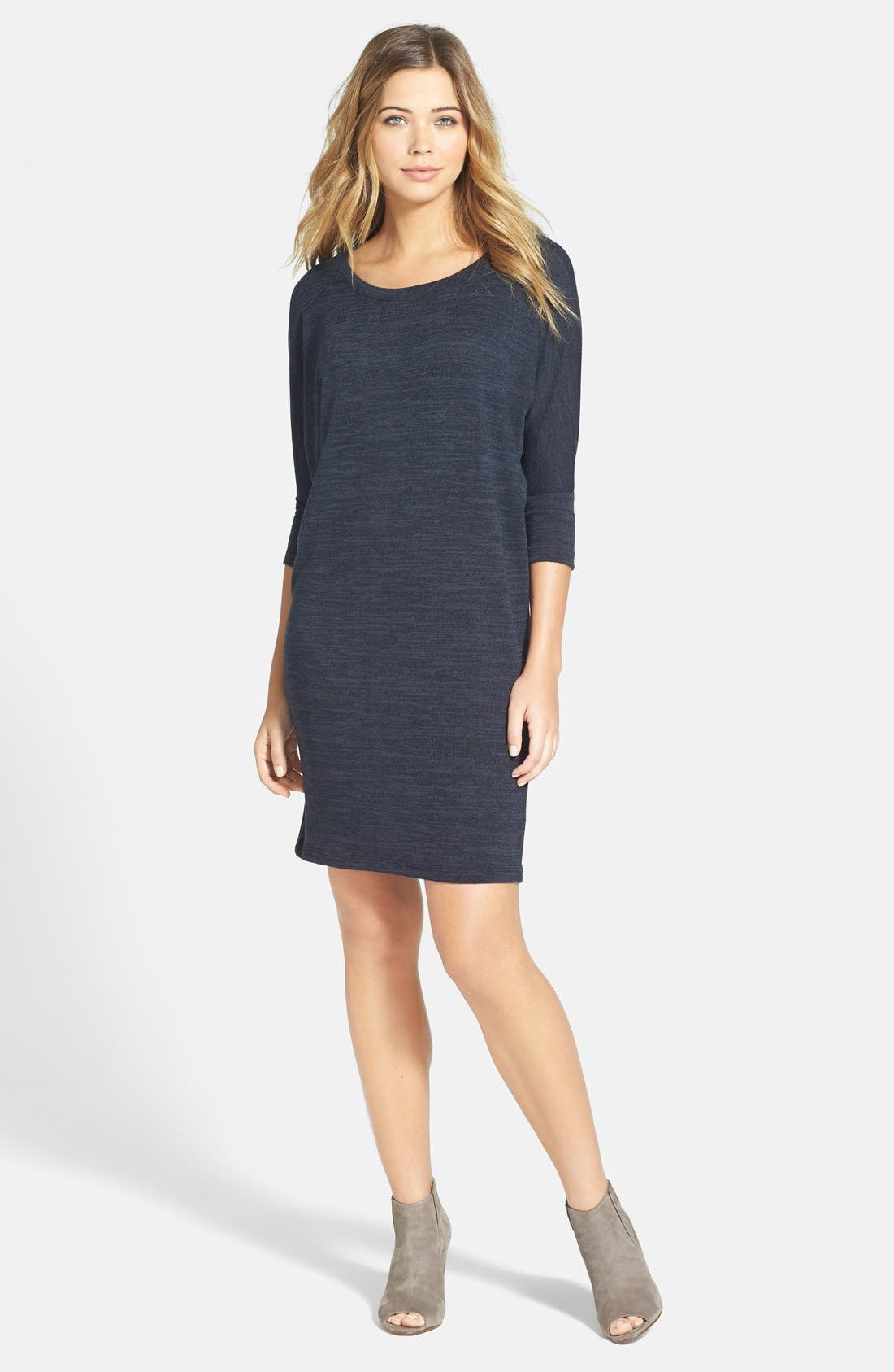 Three Quarter Dolman Sleeve Sweater Dress, Main, color, 001