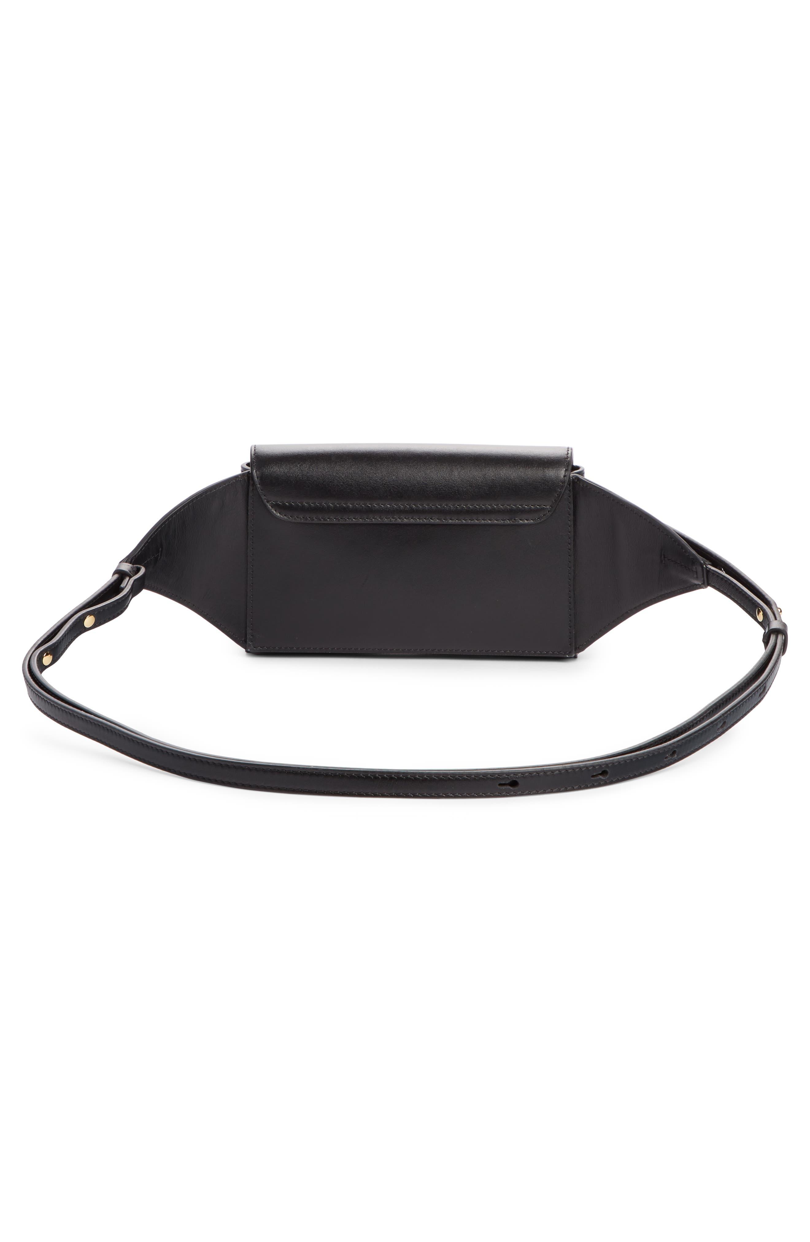 CHLOÉ,                             C Leather Convertible Belt Bag,                             Alternate thumbnail 3, color,                             BLACK