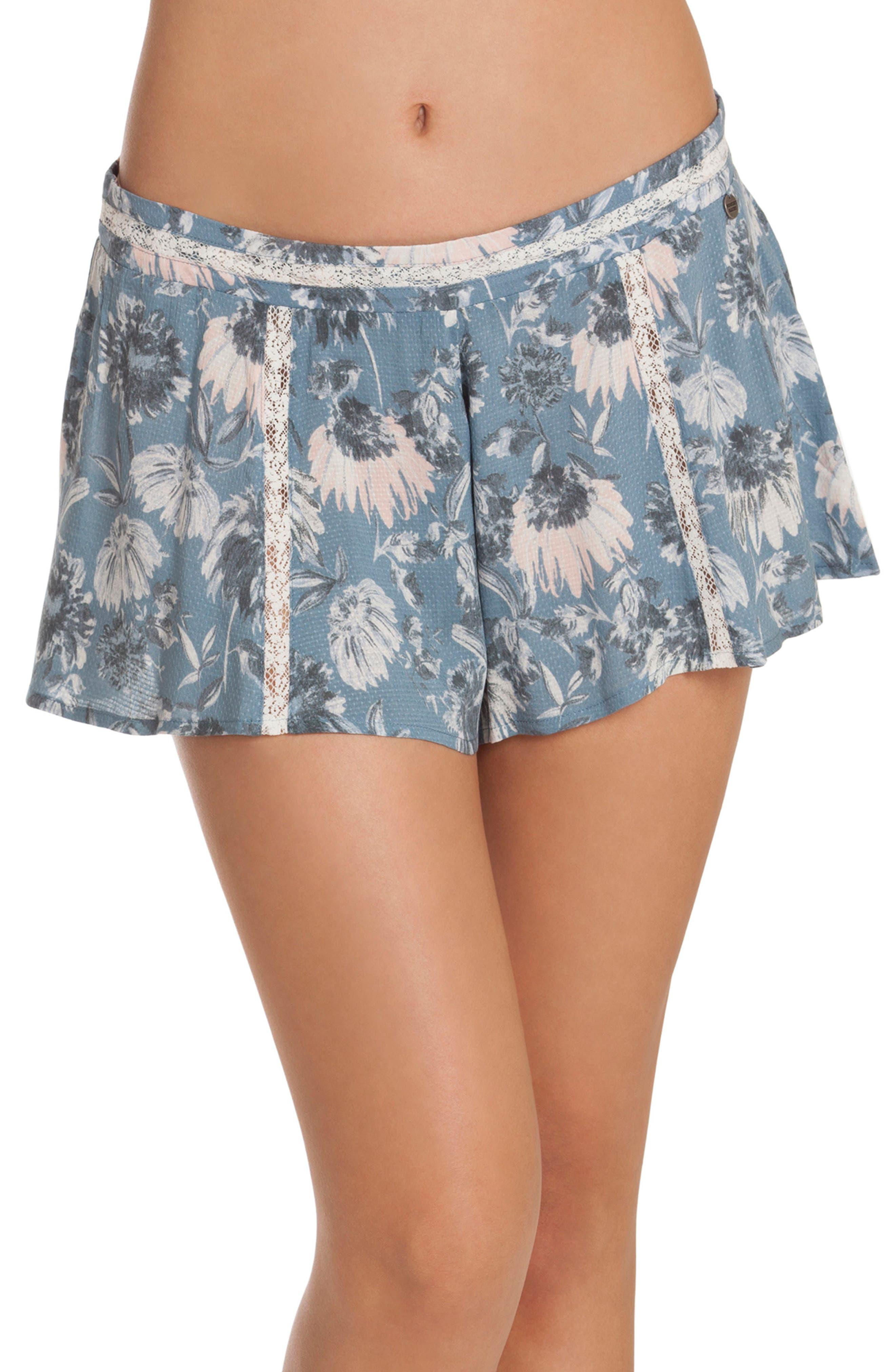 Floral Pajama Shorts,                             Main thumbnail 1, color,                             406