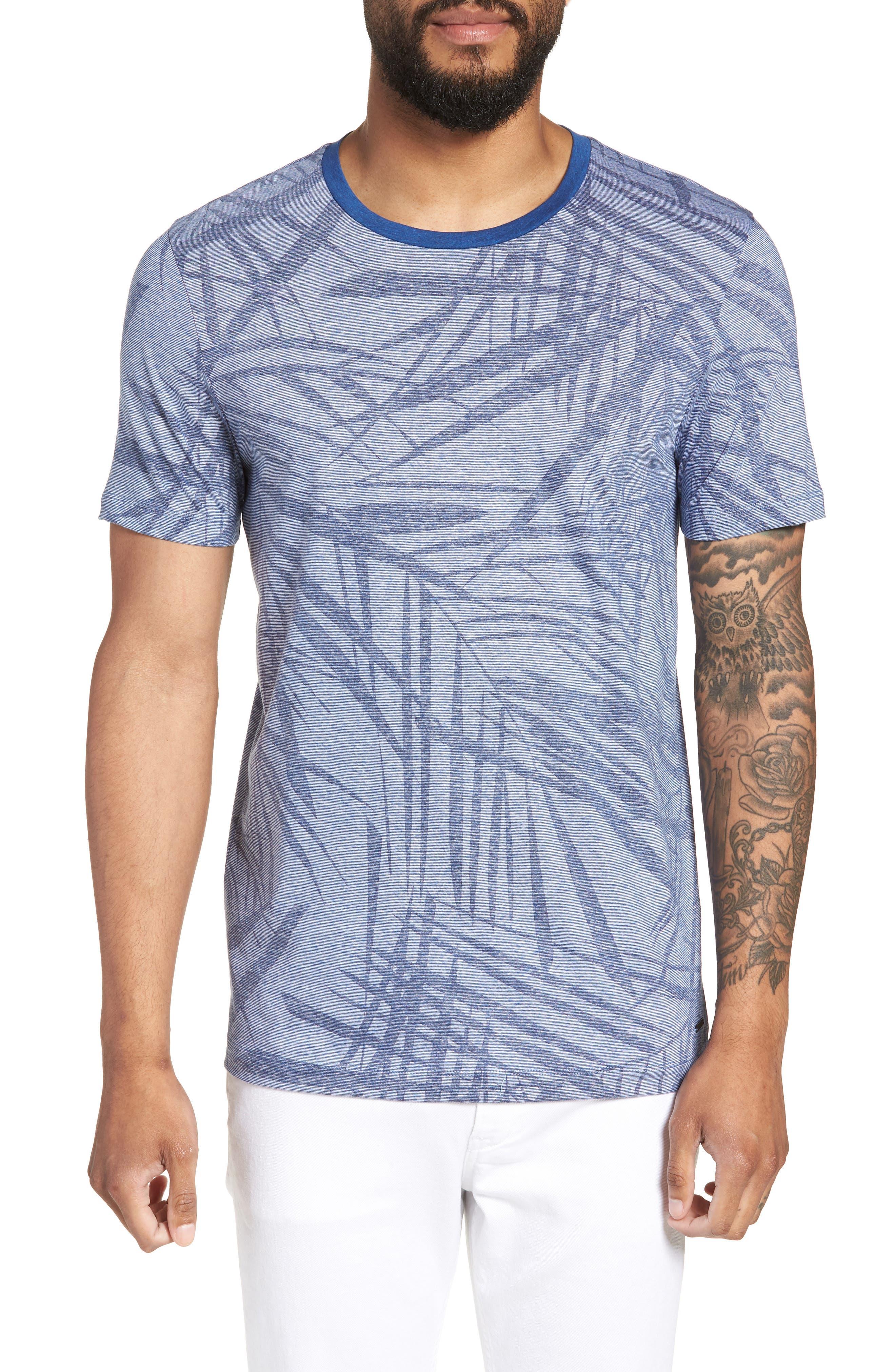 Tessler Slim Fit Palm Print T-Shirt,                             Main thumbnail 1, color,                             429