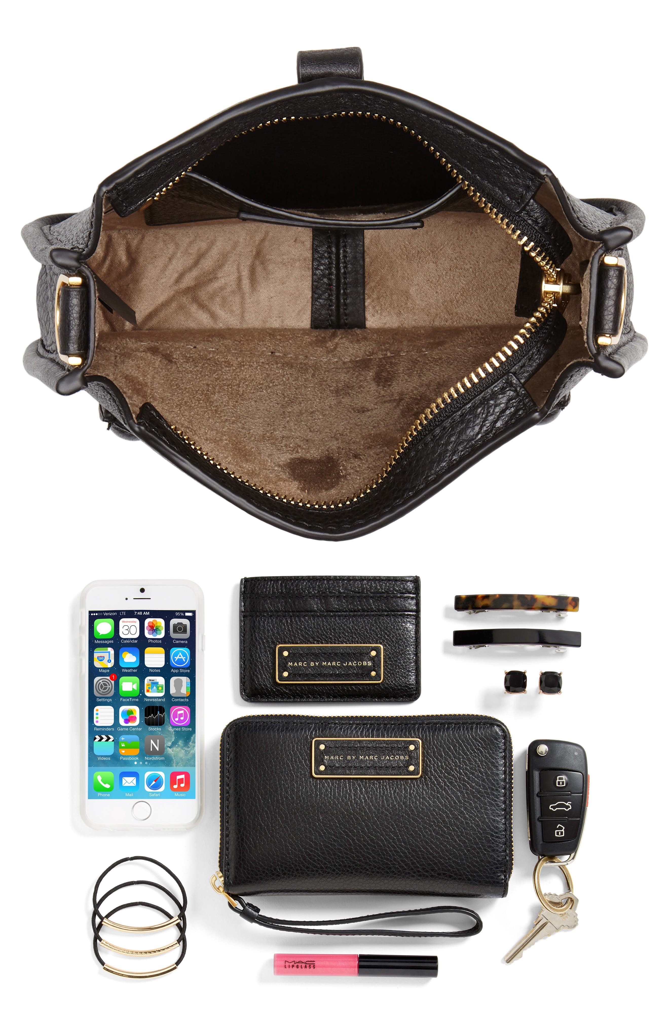 Mini Unlined Leather Feed Bag,                             Alternate thumbnail 7, color,                             010