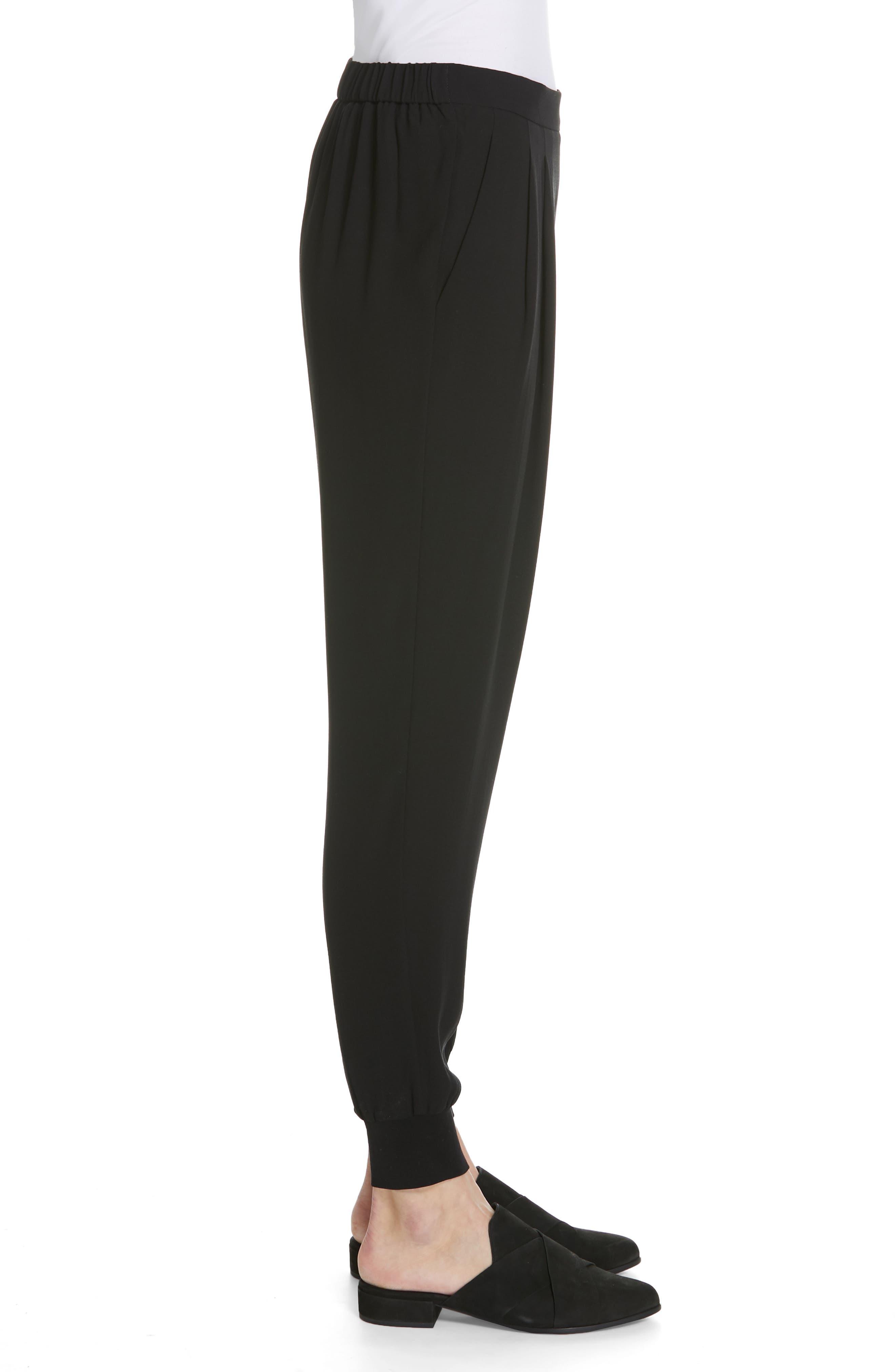 Slouchy Silk Ankle Pants,                             Alternate thumbnail 3, color,                             BLACK