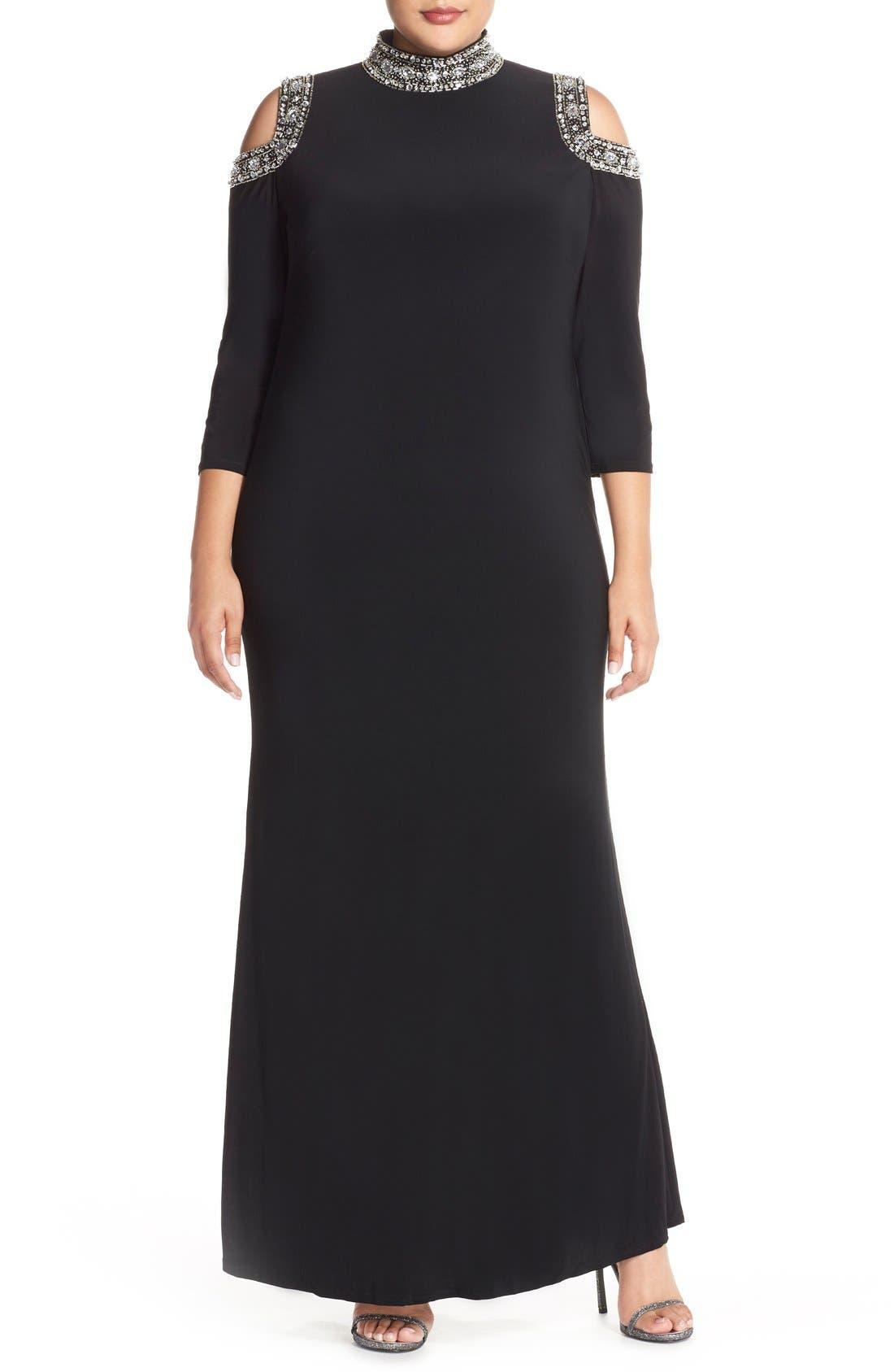 Embellished Neck Cold Shoulder Gown,                             Main thumbnail 1, color,                             001