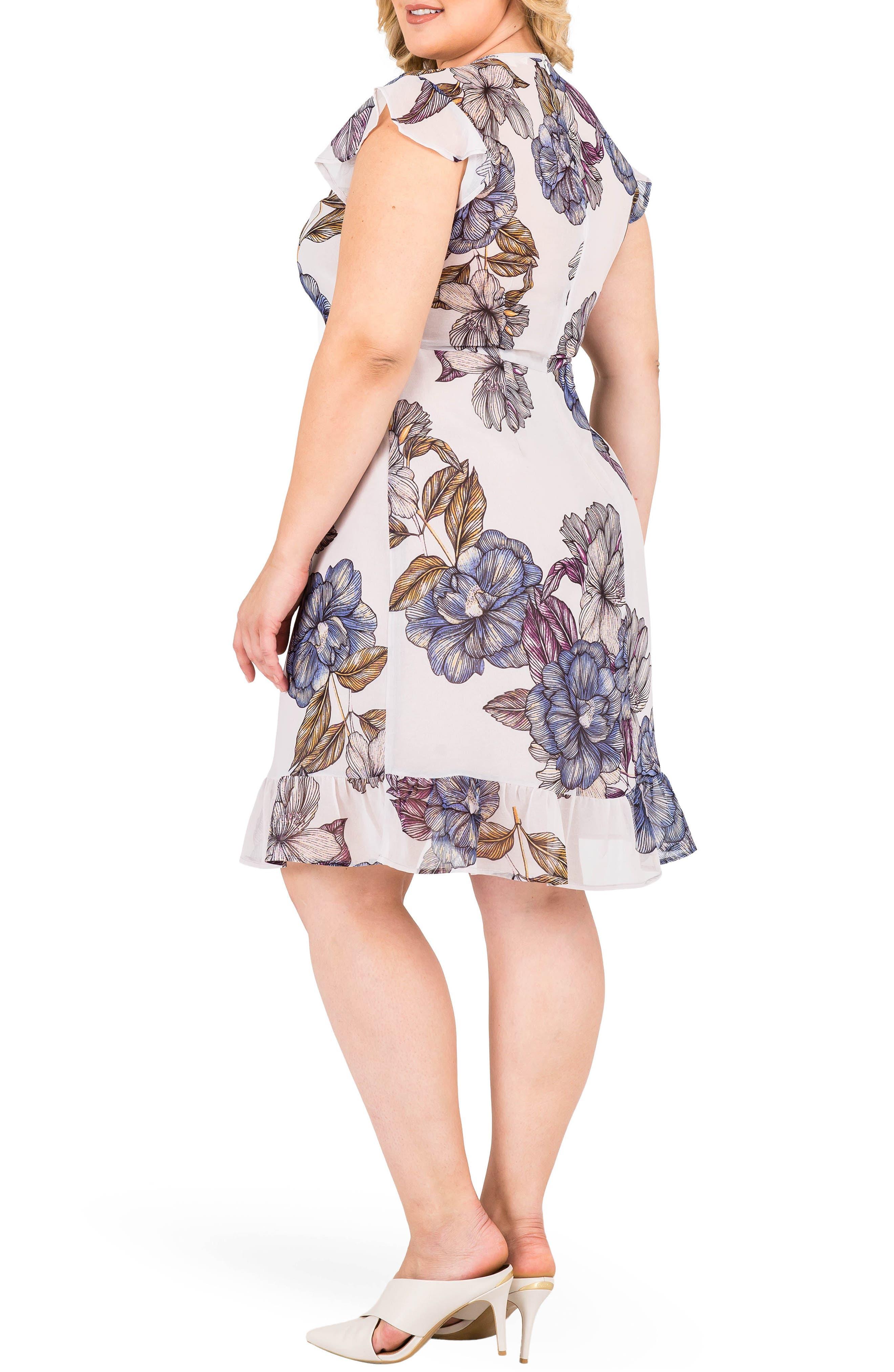 Dion Floral A-Line Dress,                             Alternate thumbnail 3, color,                             LIGHT GRAY FLORAL PRINT