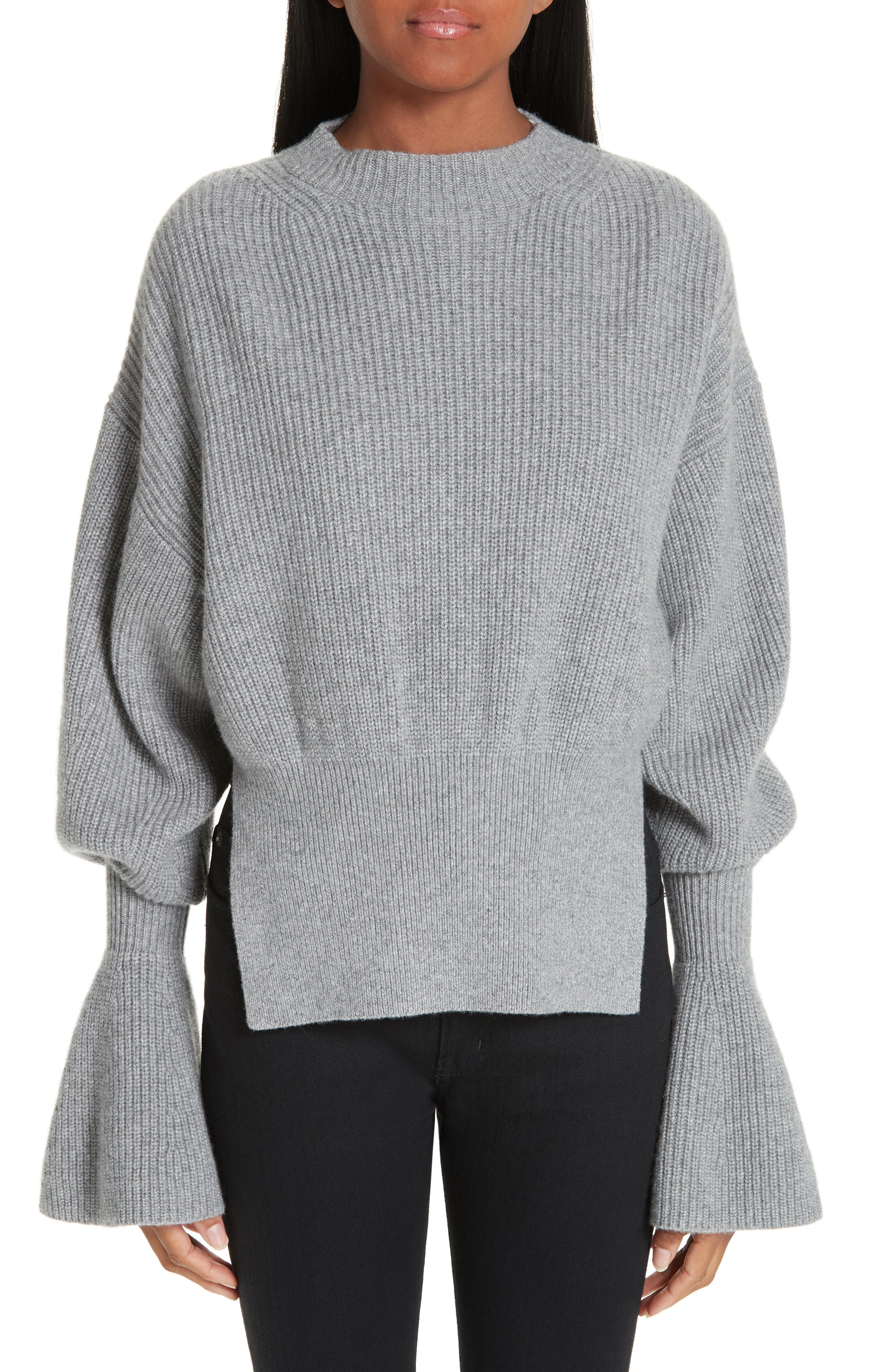Side Split Merino Wool & Cashmere Blend Sweater,                             Main thumbnail 1, color,                             HEATHER GREY