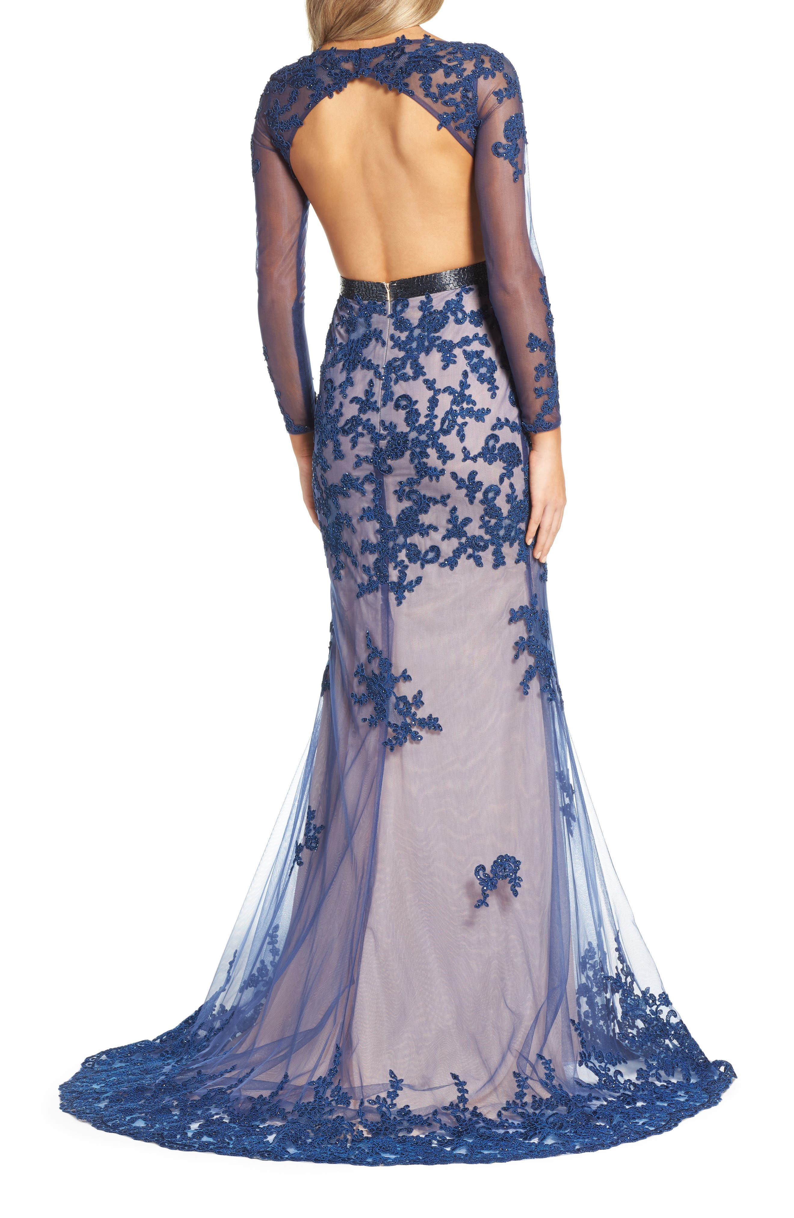 Open Back Embroidered Tulle Gown,                             Alternate thumbnail 3, color,