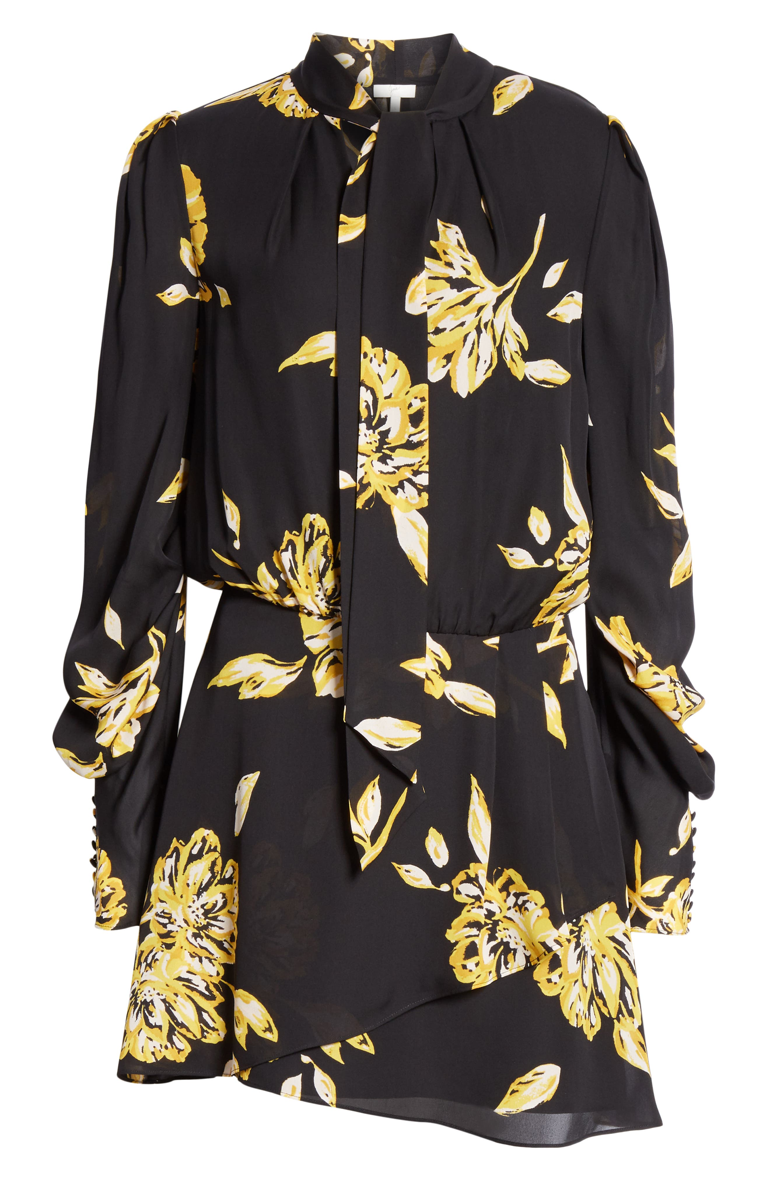 Gyan Floral Silk Dress,                             Alternate thumbnail 7, color,                             CAVIAR