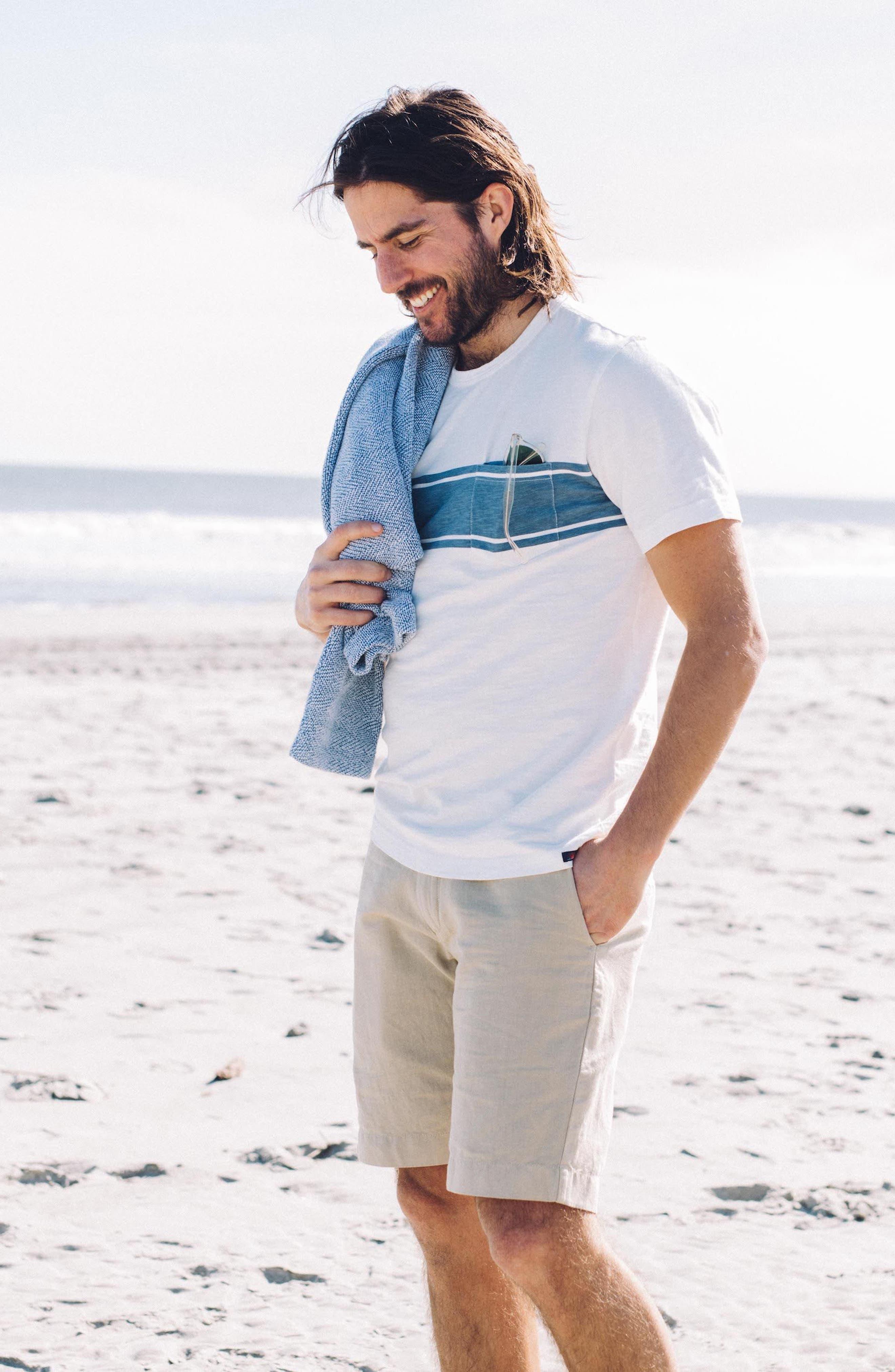 Surf Stripe Pocket T-Shirt,                             Alternate thumbnail 7, color,                             WHITE SURF STRIPE