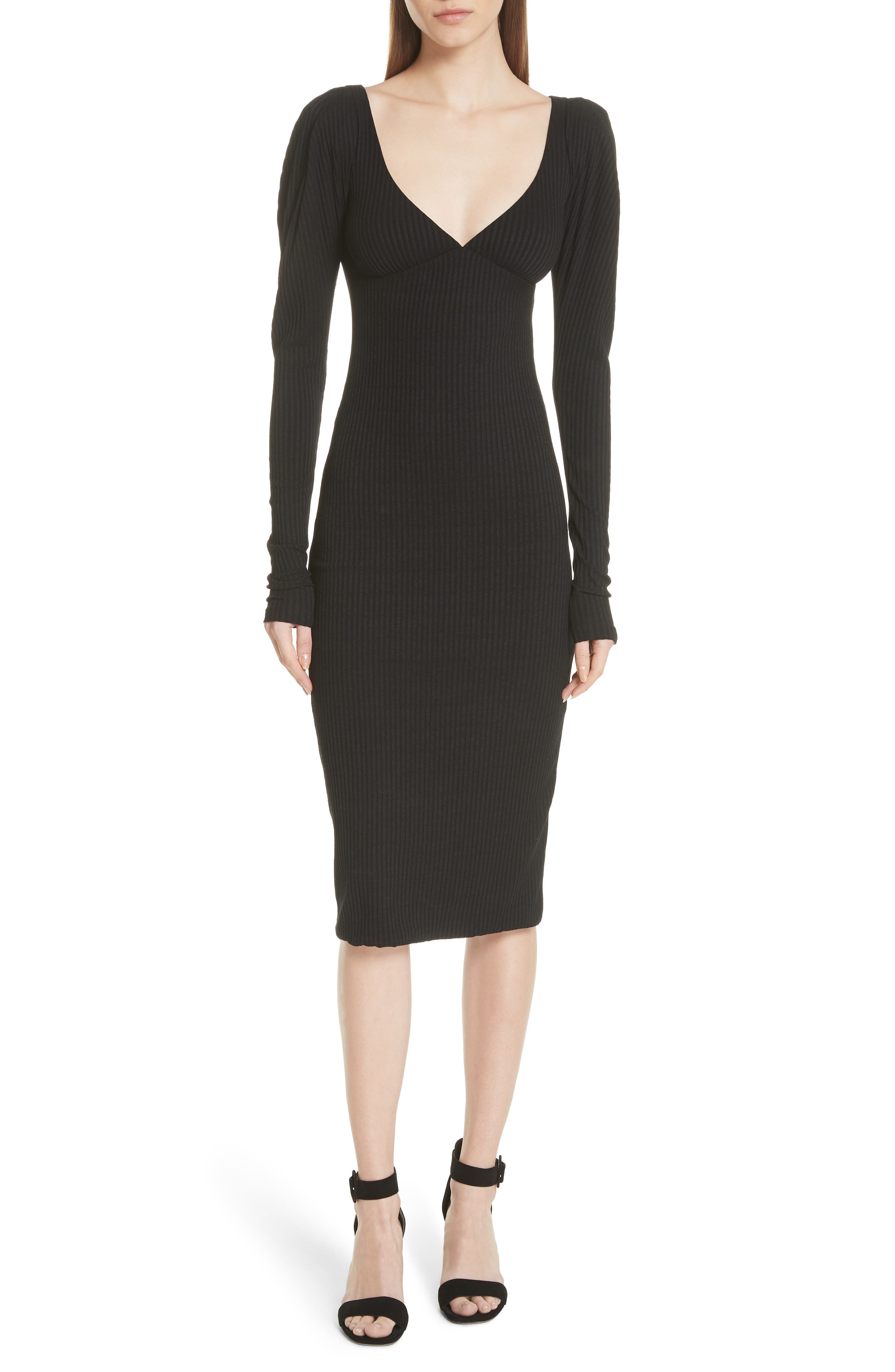 A.l.c. Dafne Puff Shoulder Body-Con Dress, Black