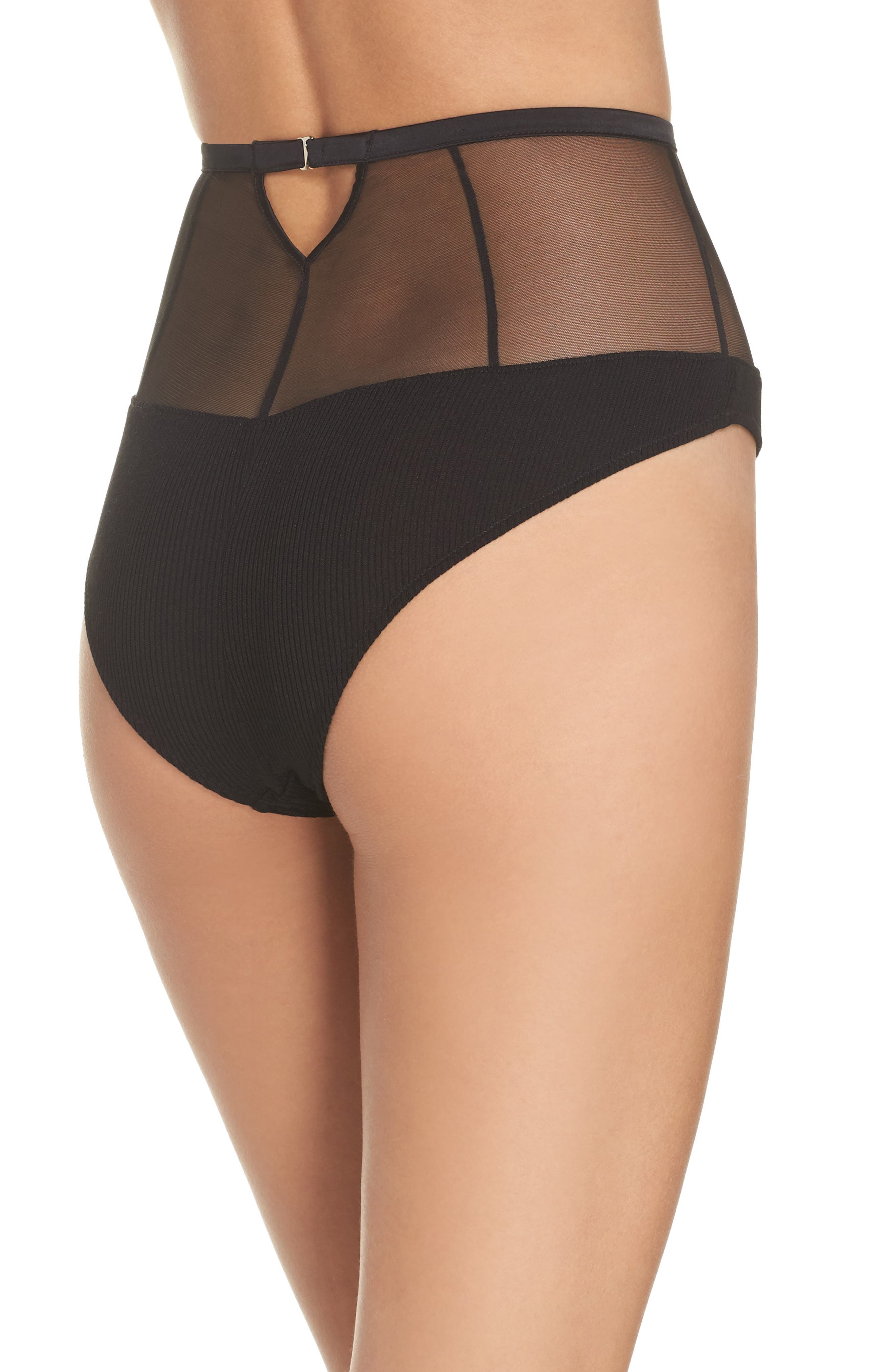 High Waist Mesh Panties,                             Alternate thumbnail 2, color,                             002