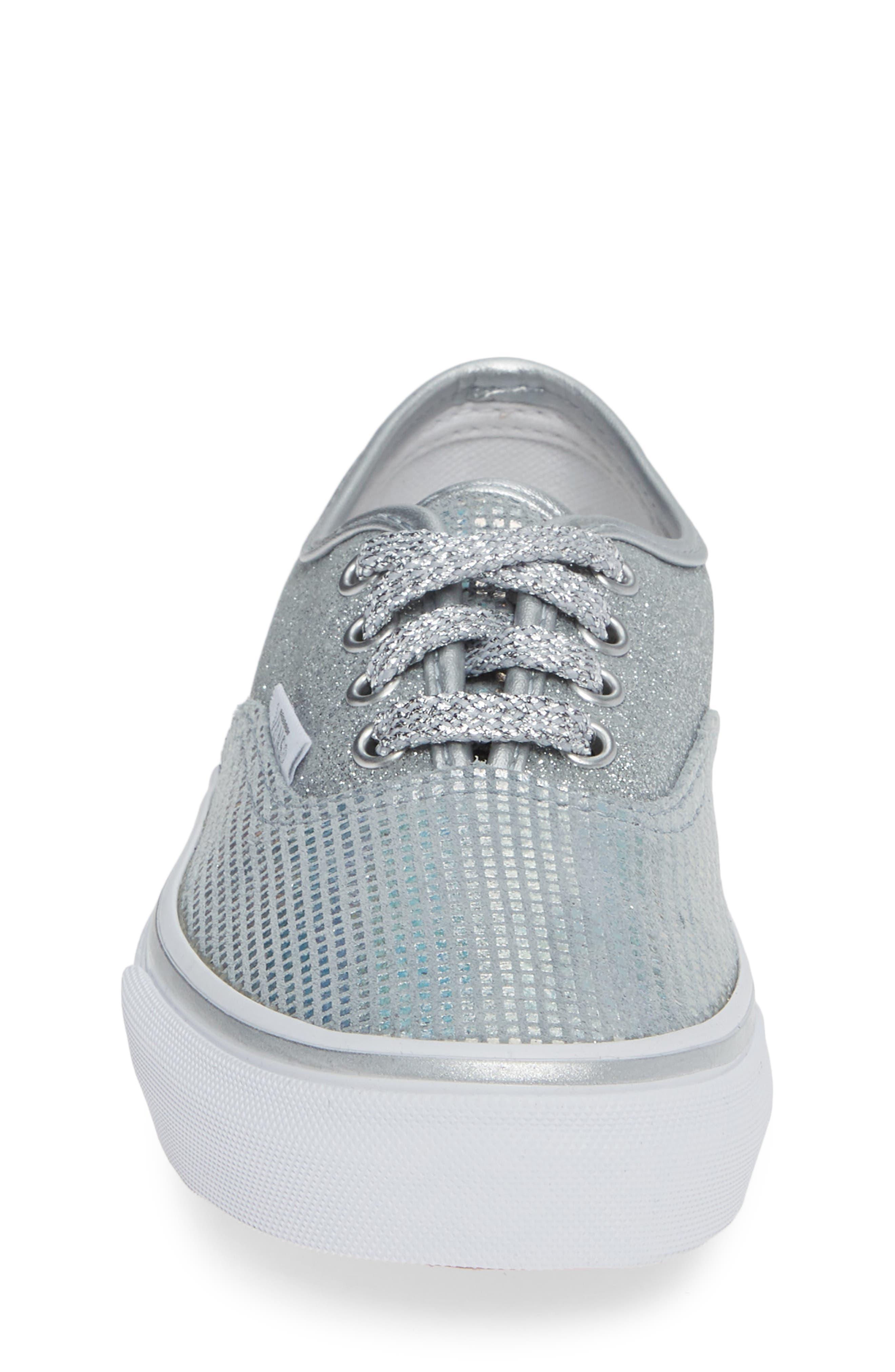 Authentic Glitter Sneaker,                             Alternate thumbnail 4, color,                             SILVER TEXTILE