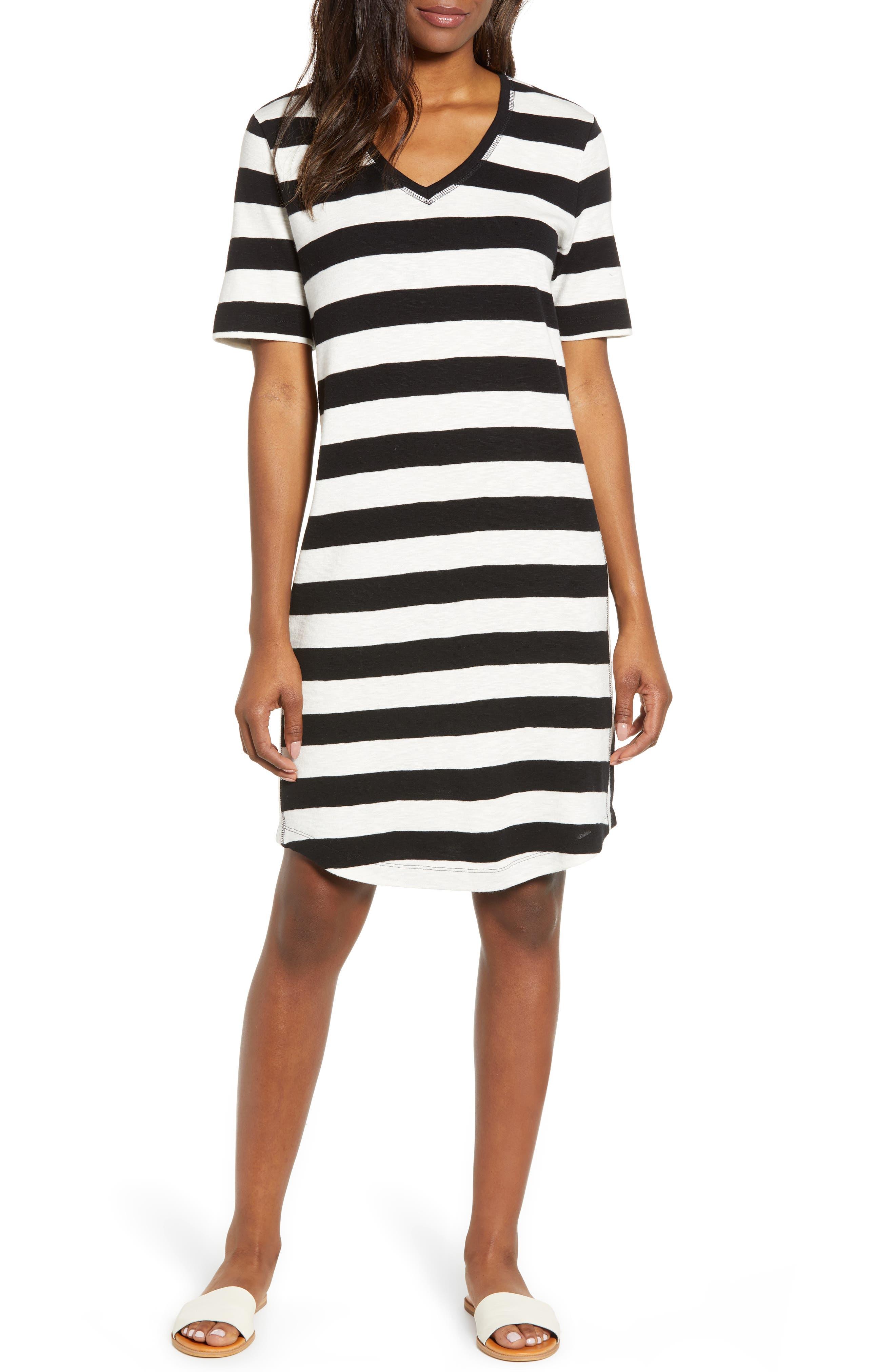 Petite Caslon Slub Knit Dress, Black