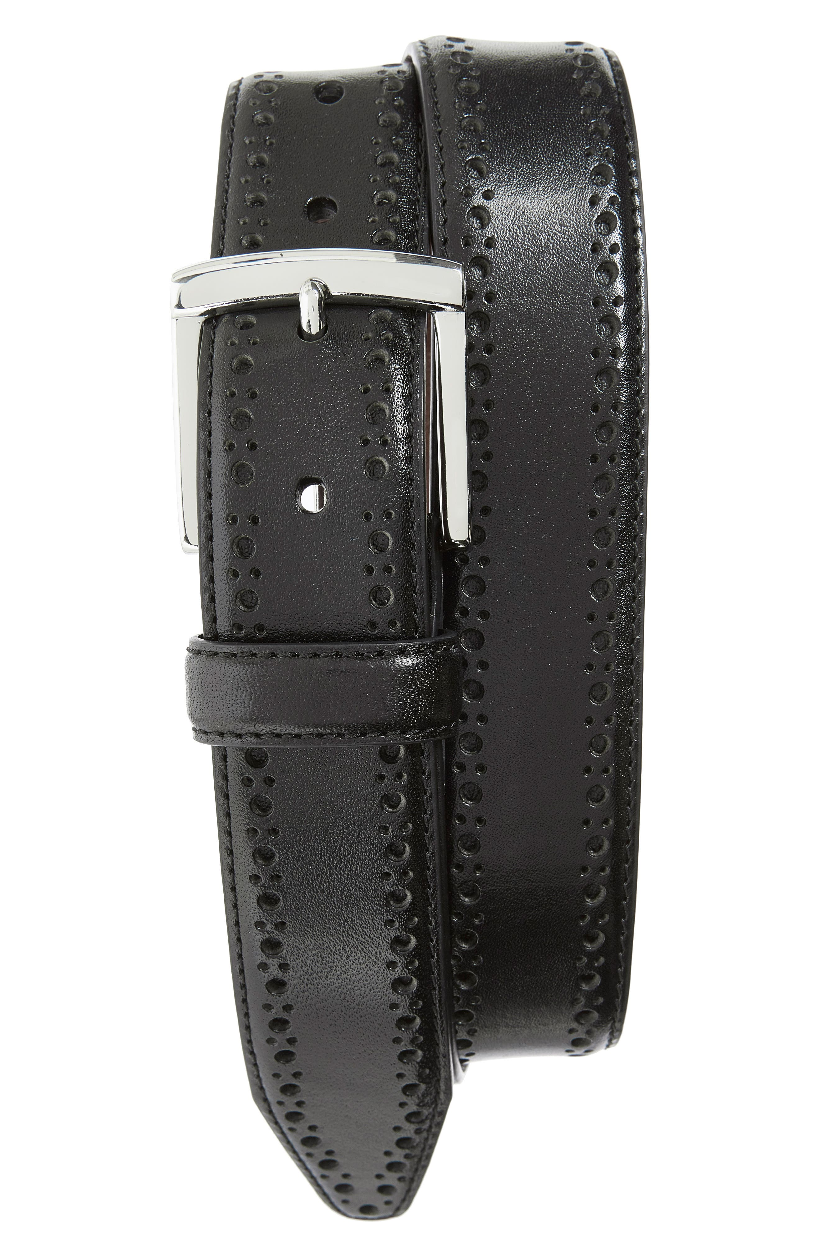 Perforated Leather Belt,                             Alternate thumbnail 3, color,                             BLACK