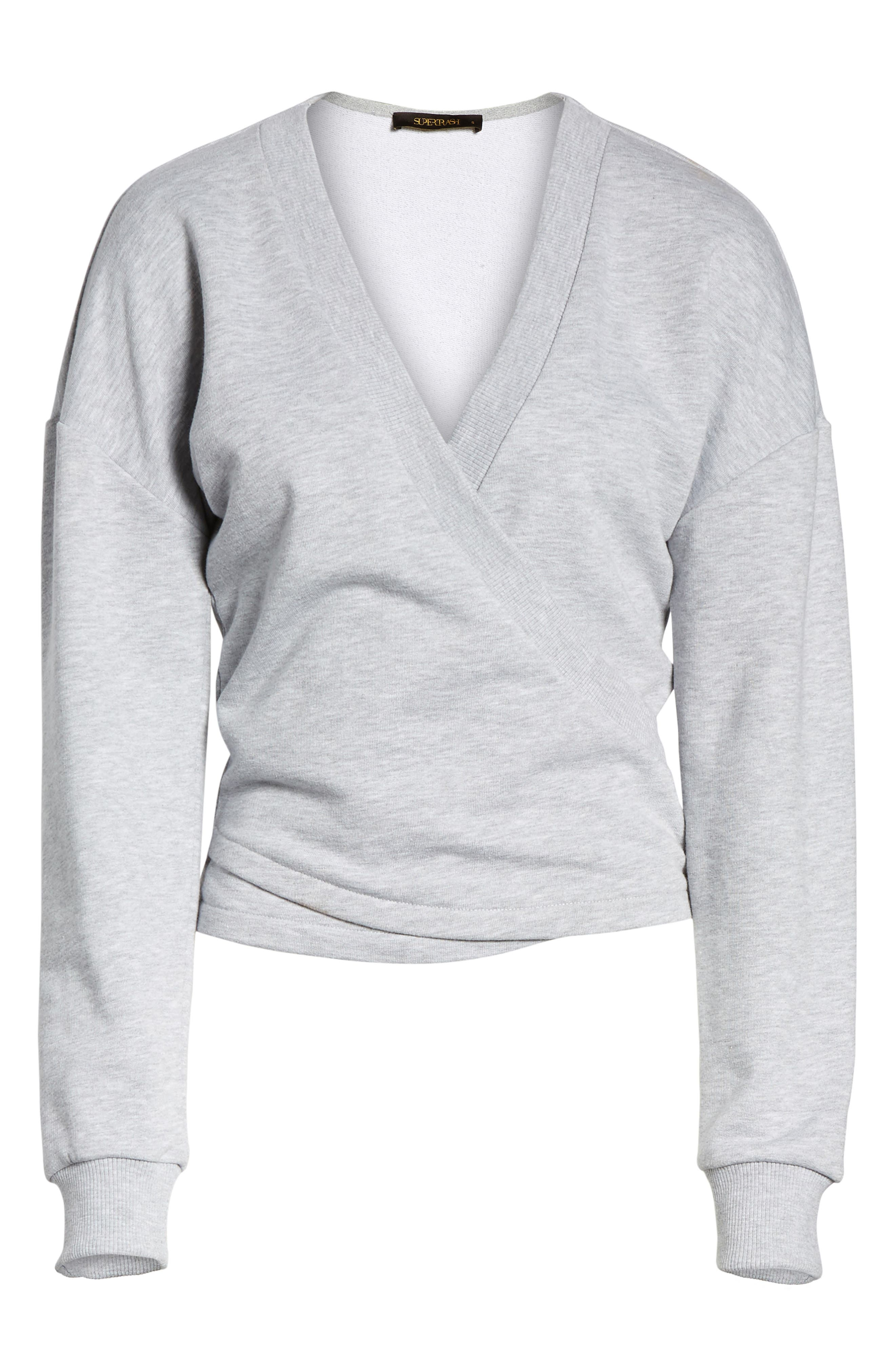 Teaser Faux Wrap Sweatshirt,                             Alternate thumbnail 6, color,                             020