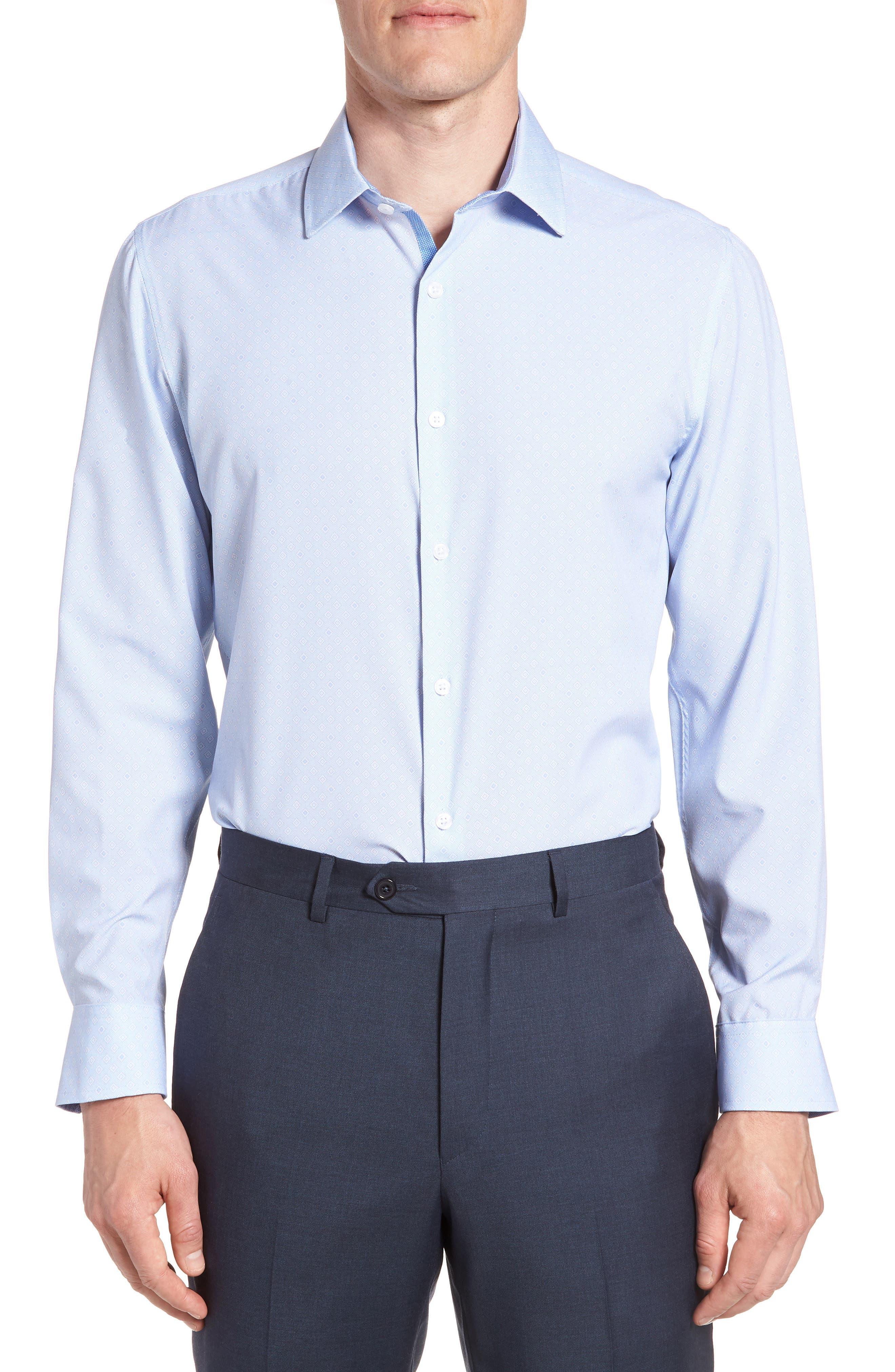 Trim Fit Geometric 4-Way Stretch Dress Shirt,                             Main thumbnail 1, color,                             BLUE