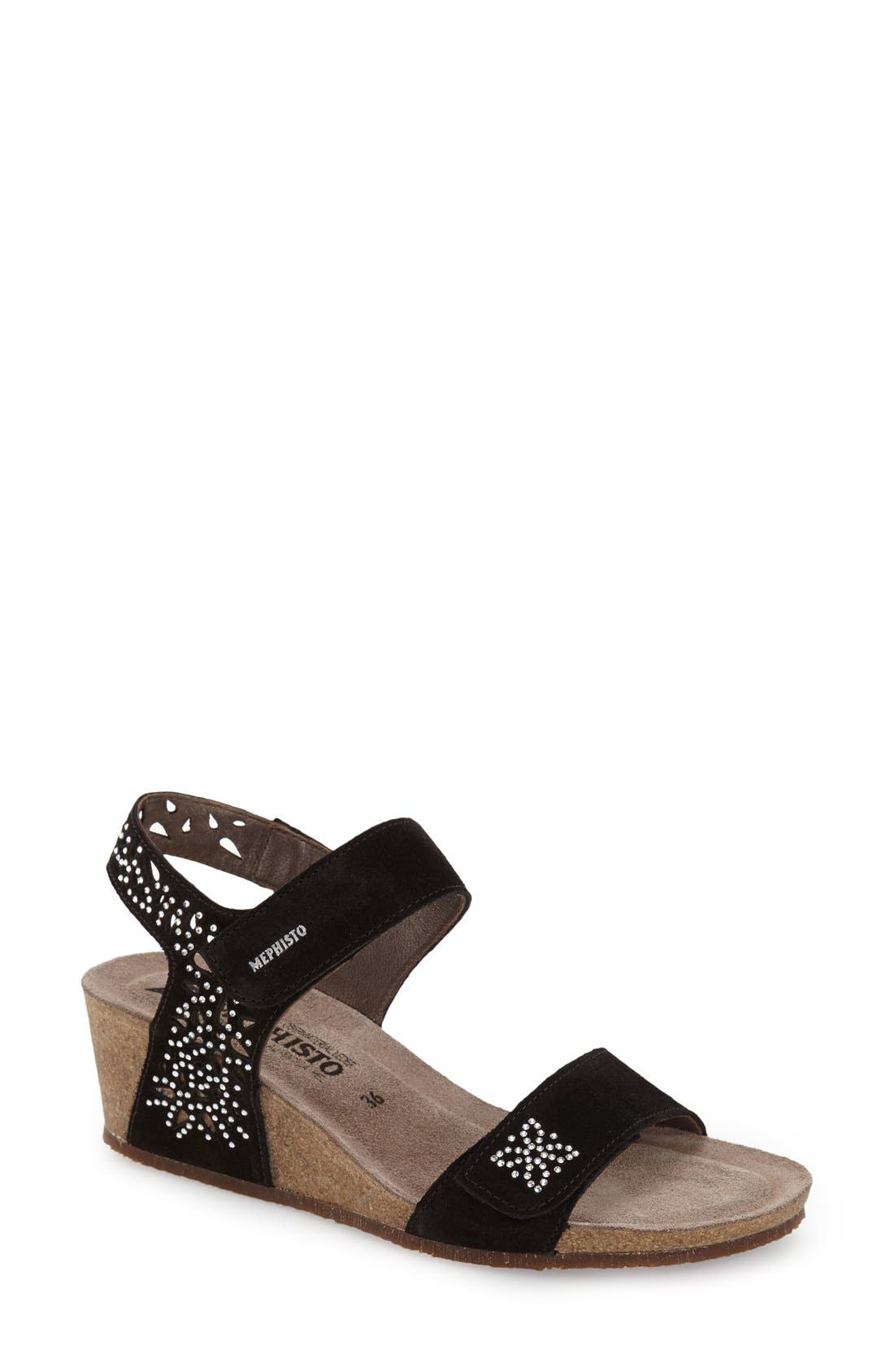 'Marie - Spark' Wedge Sandal,                             Main thumbnail 1, color,                             BLACK SUEDE